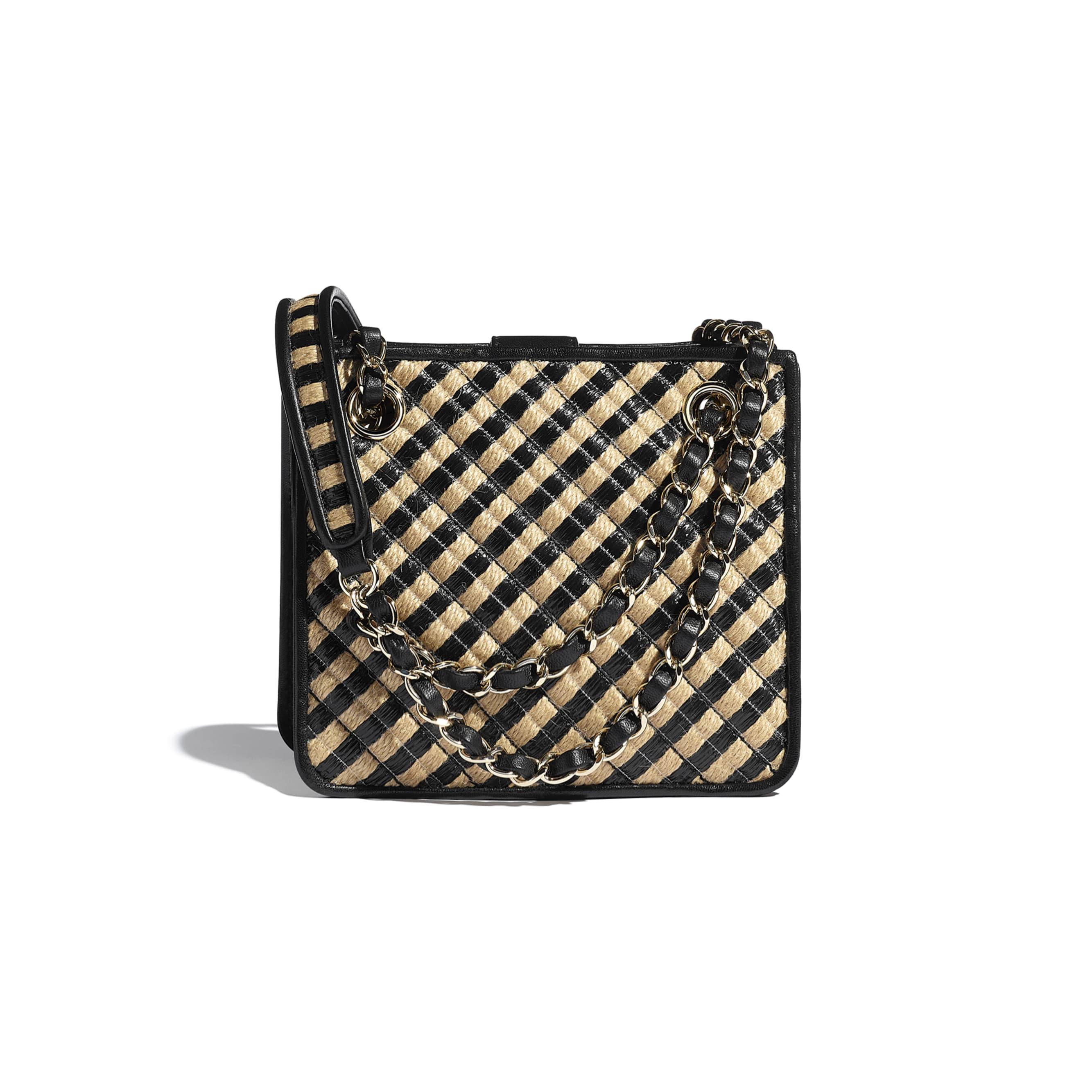 Drawstring Bag - Black & Beige - Raffia, Jute Thread & Gold-Tone Metal - CHANEL - Alternative view - see standard sized version