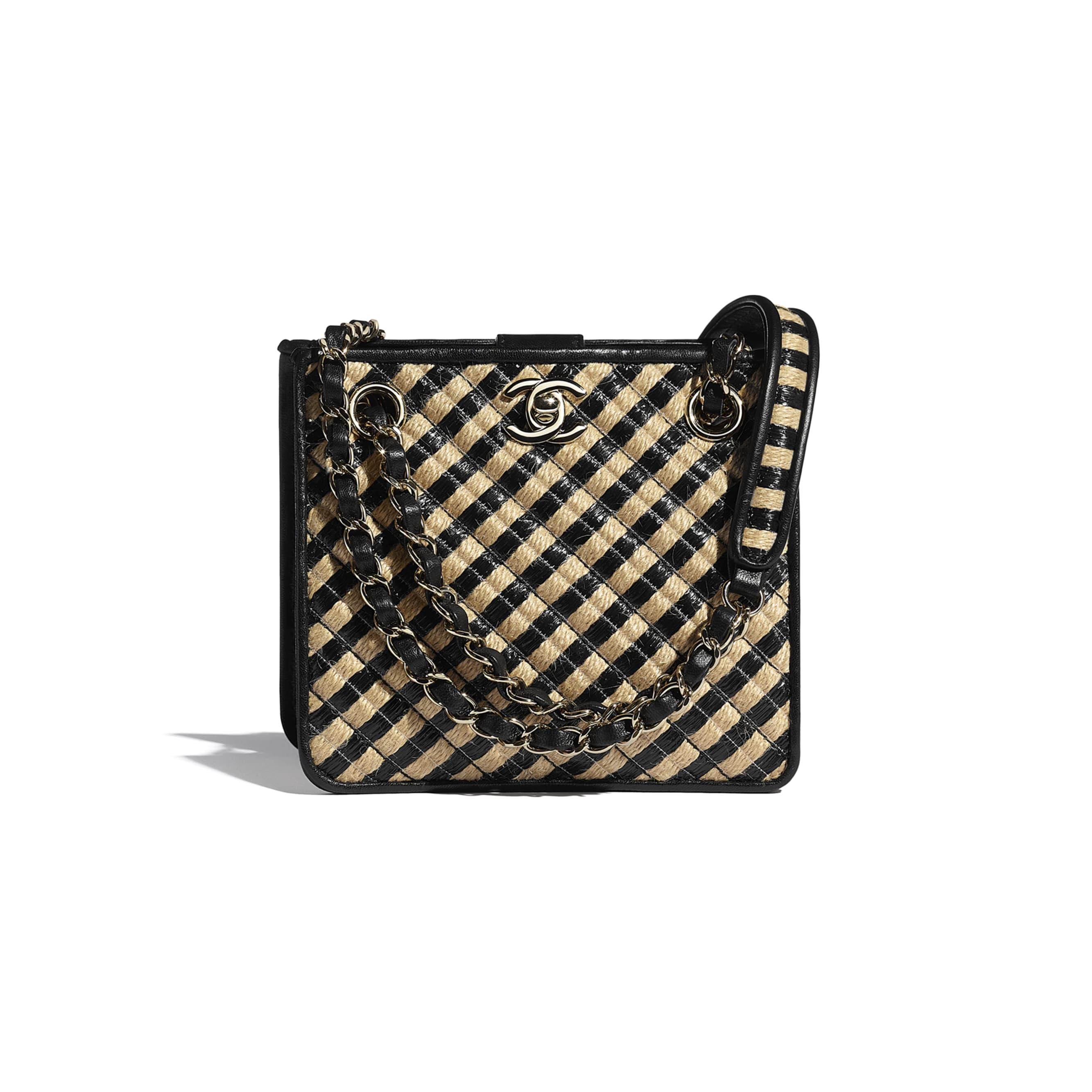 Drawstring Bag - Black & Beige - Raffia, Jute Thread & Gold-Tone Metal - CHANEL - Default view - see standard sized version