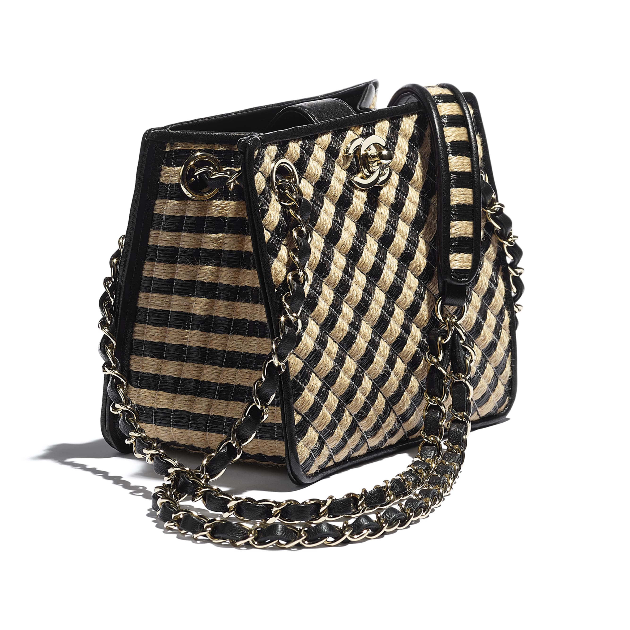 Drawstring Bag - Black & Beige - Raffia, Jute Thread & Gold-Tone Metal - CHANEL - Extra view - see standard sized version