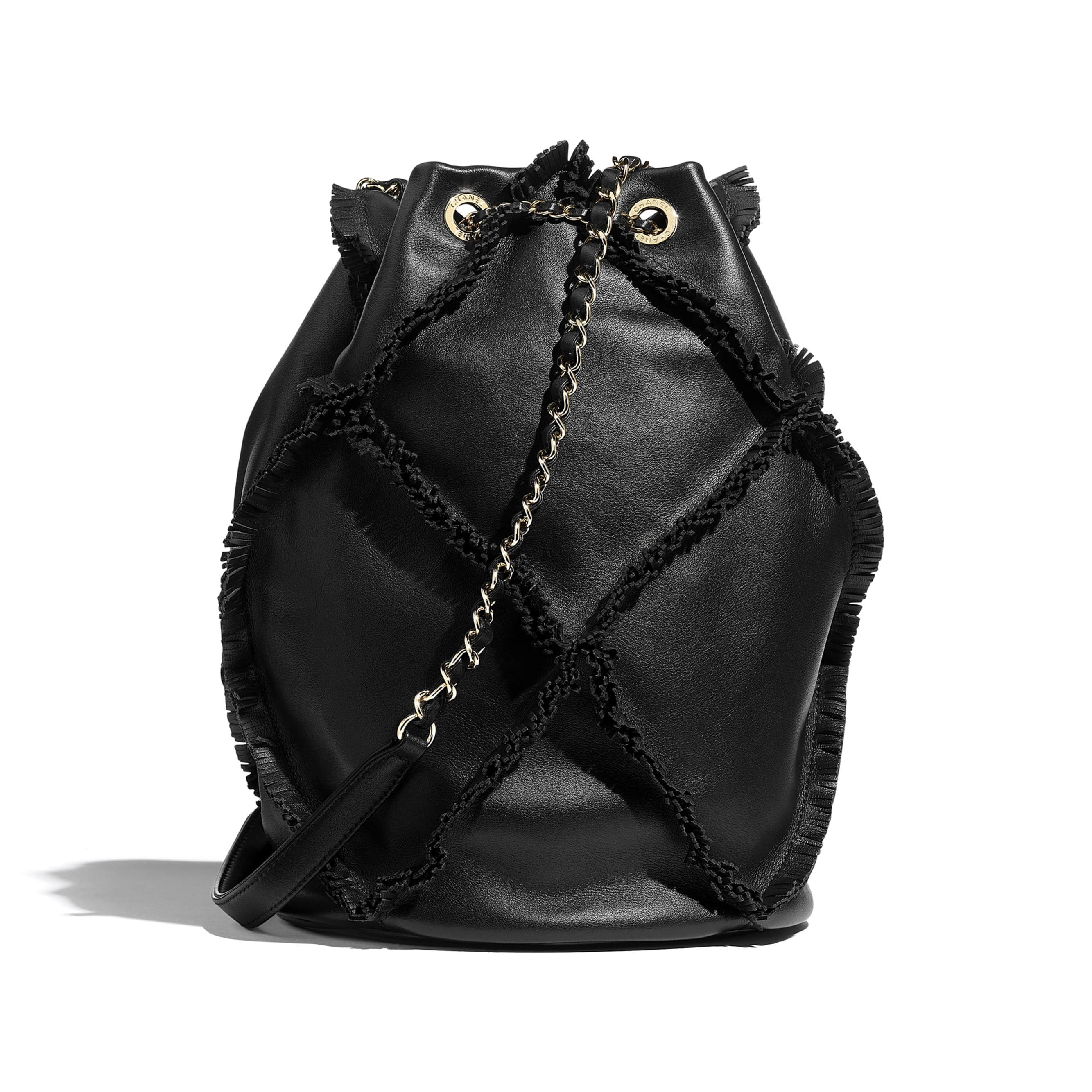 Drawstring Bag - Black - Calfskin & Gold-Tone Metal - Alternative view - see standard sized version