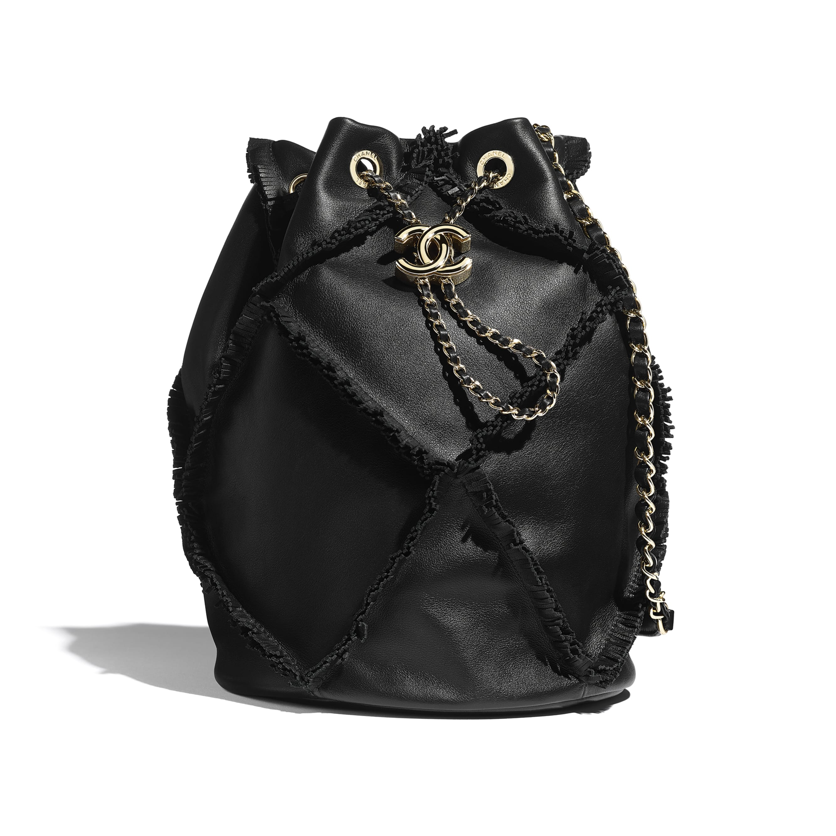 Drawstring Bag - Black - Calfskin & Gold-Tone Metal - Default view - see standard sized version