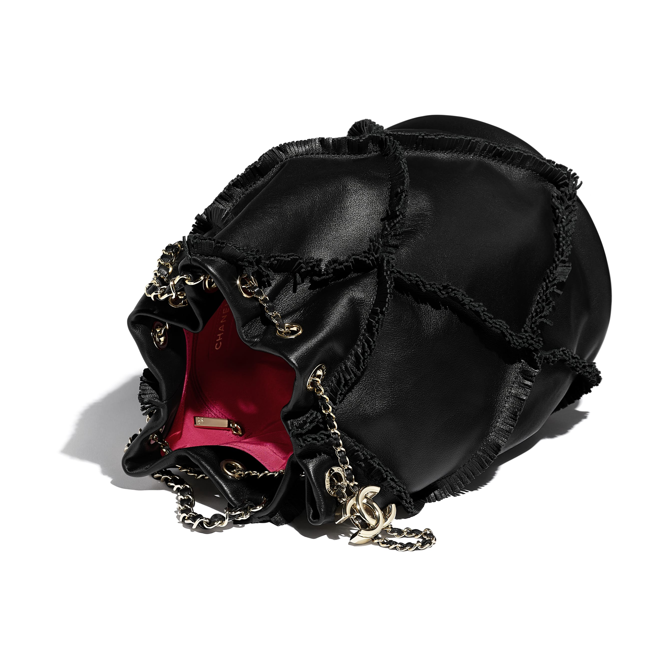 Drawstring Bag - Black - Calfskin & Gold-Tone Metal - Other view - see standard sized version
