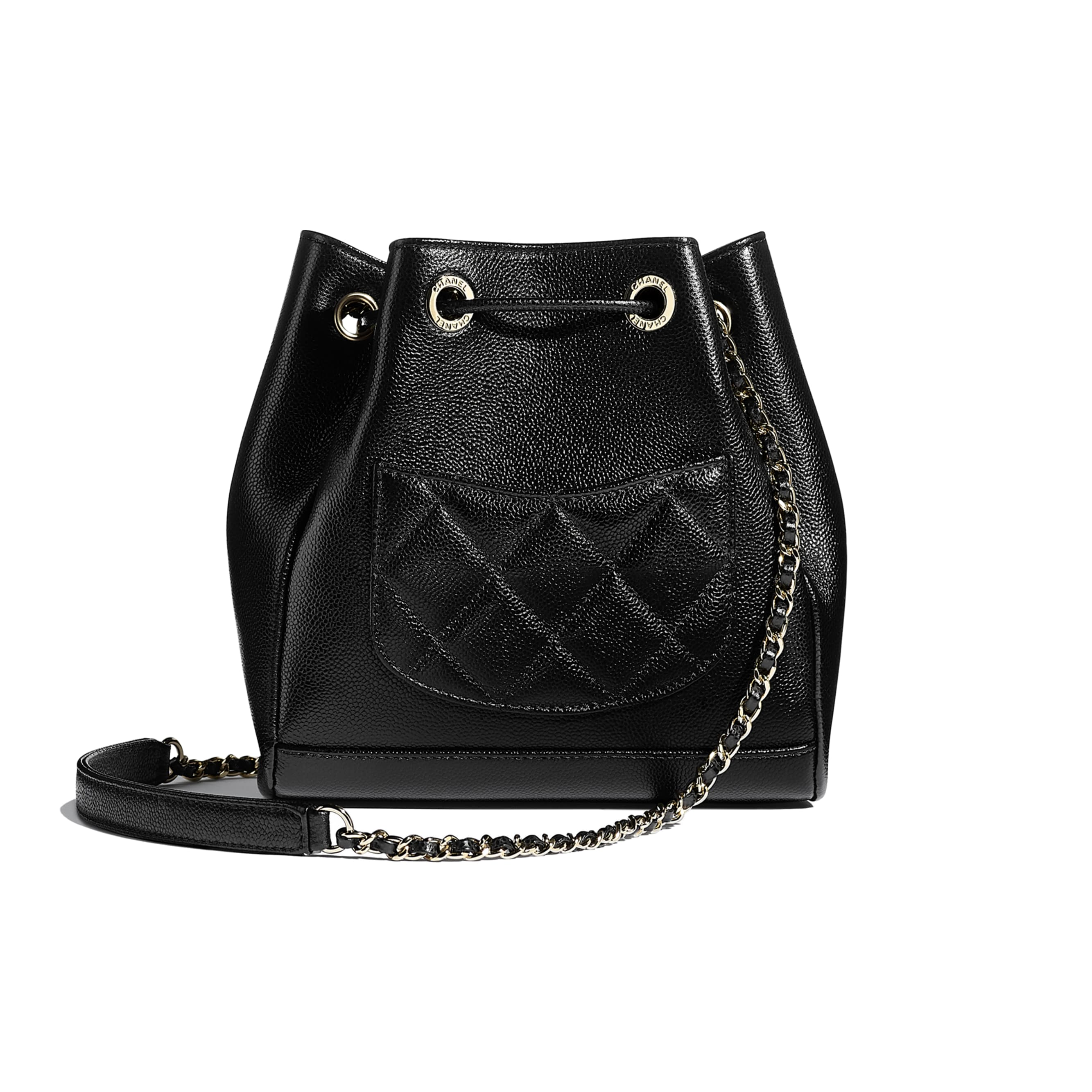 Drawstring Bag - Black - Grained Calfskin & Gold-Tone Metal - CHANEL - Alternative view - see standard sized version