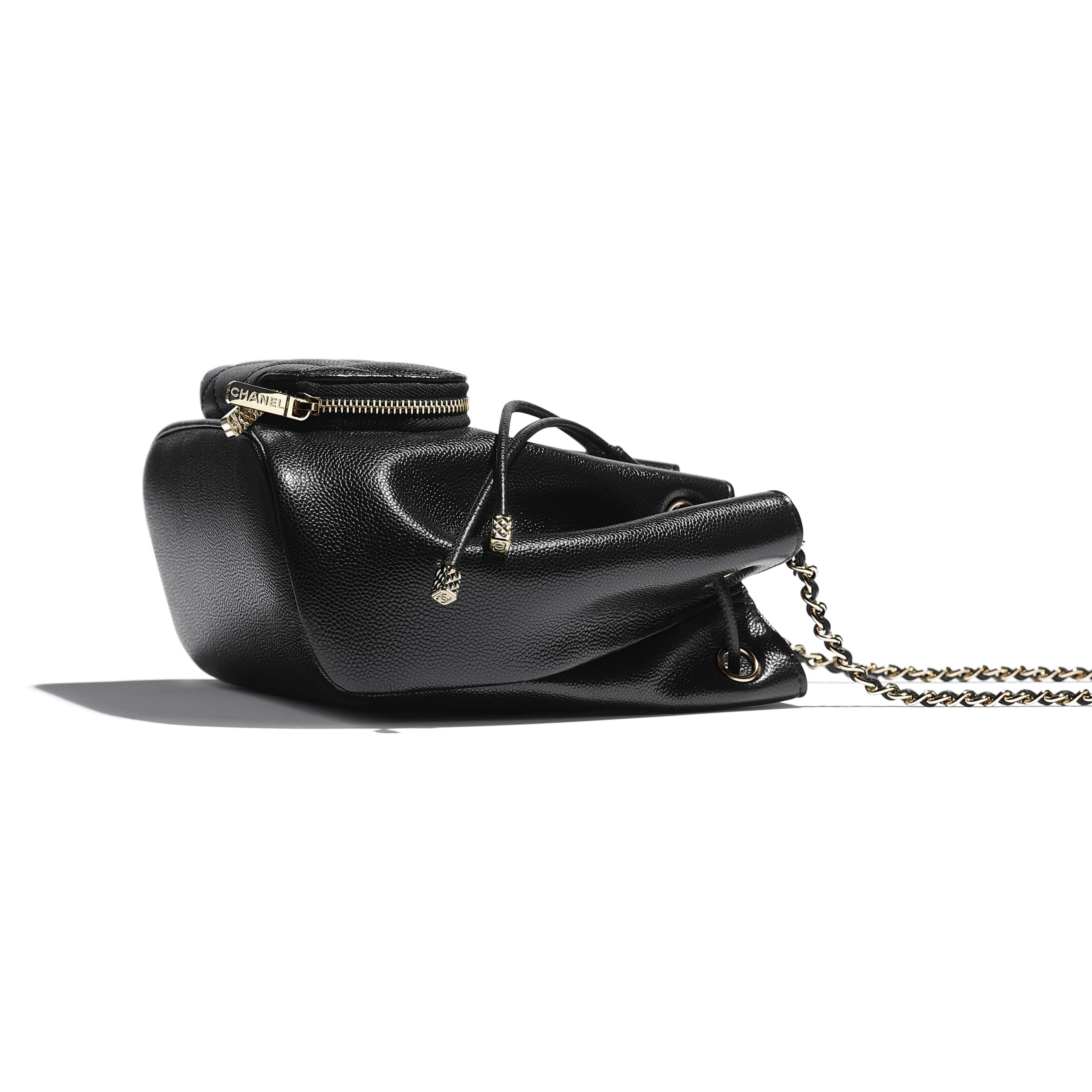 Drawstring Bag - Black - Grained Calfskin & Gold-Tone Metal - CHANEL - Extra view - see standard sized version
