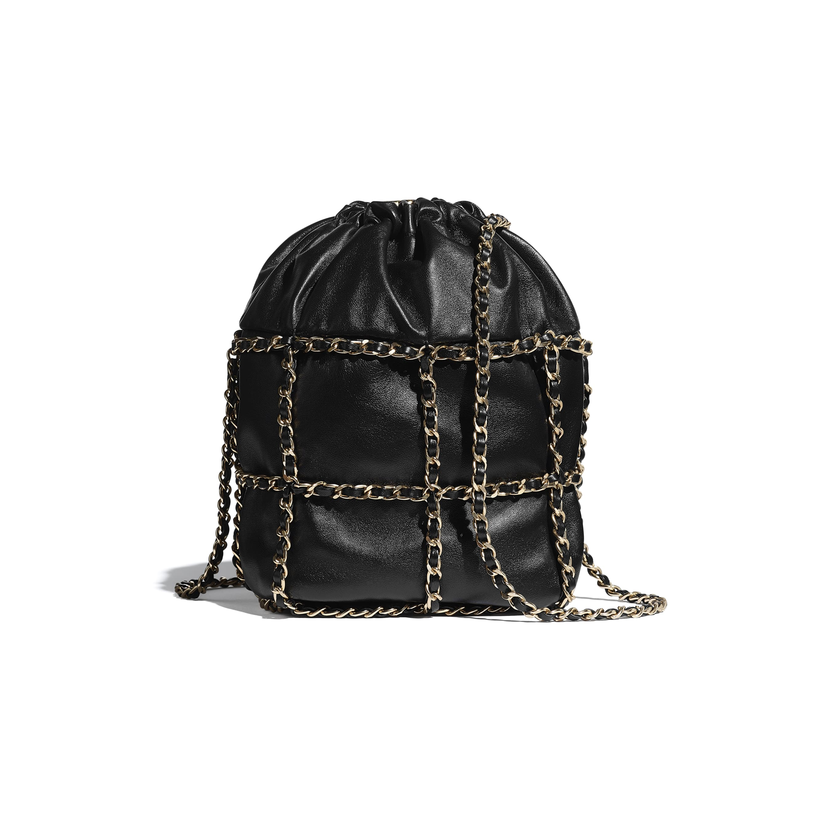 Drawstring Bag - Black - Lambskin & Gold Metal  - CHANEL - Alternative view - see standard sized version