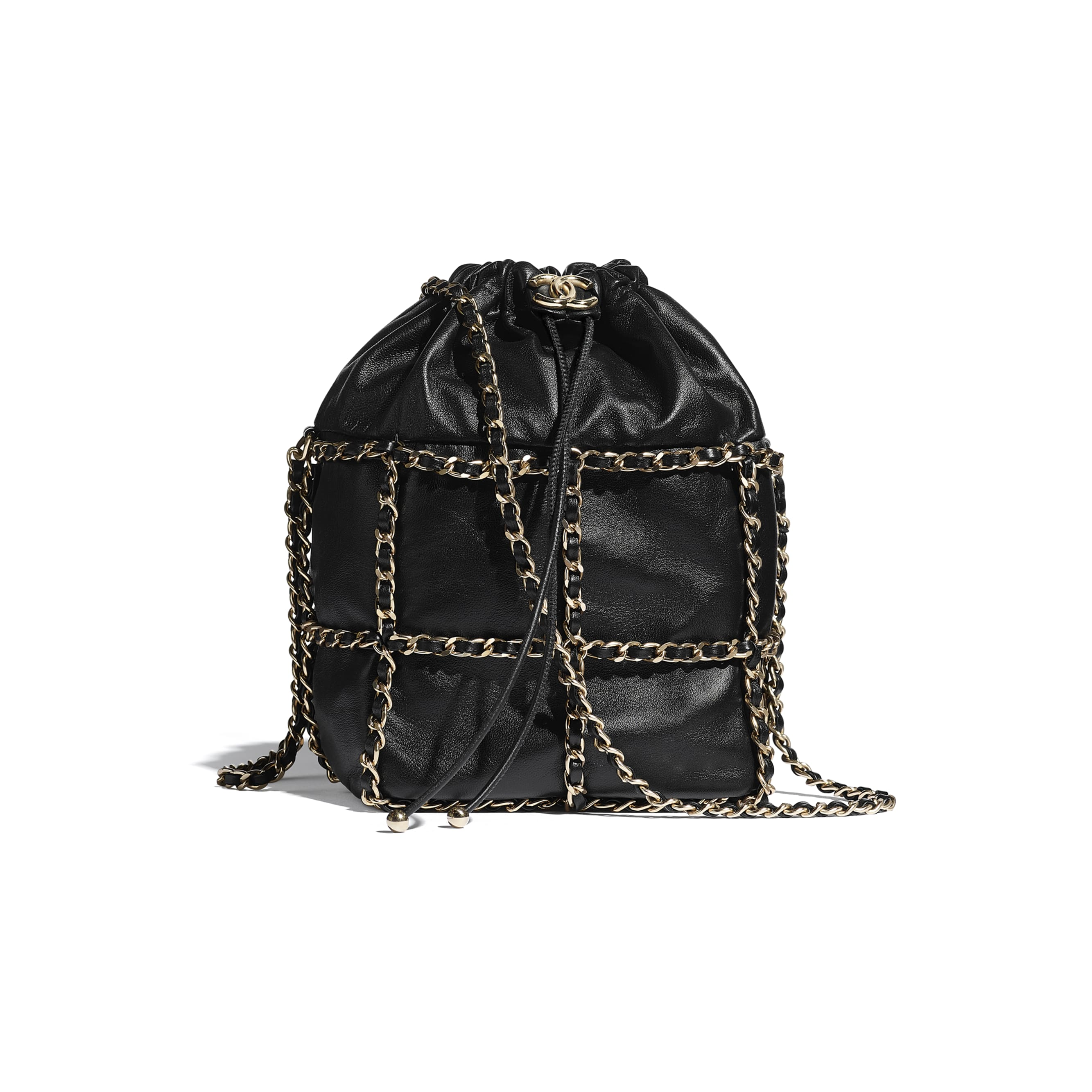 Drawstring Bag - Black - Lambskin & Gold Metal  - CHANEL - Default view - see standard sized version