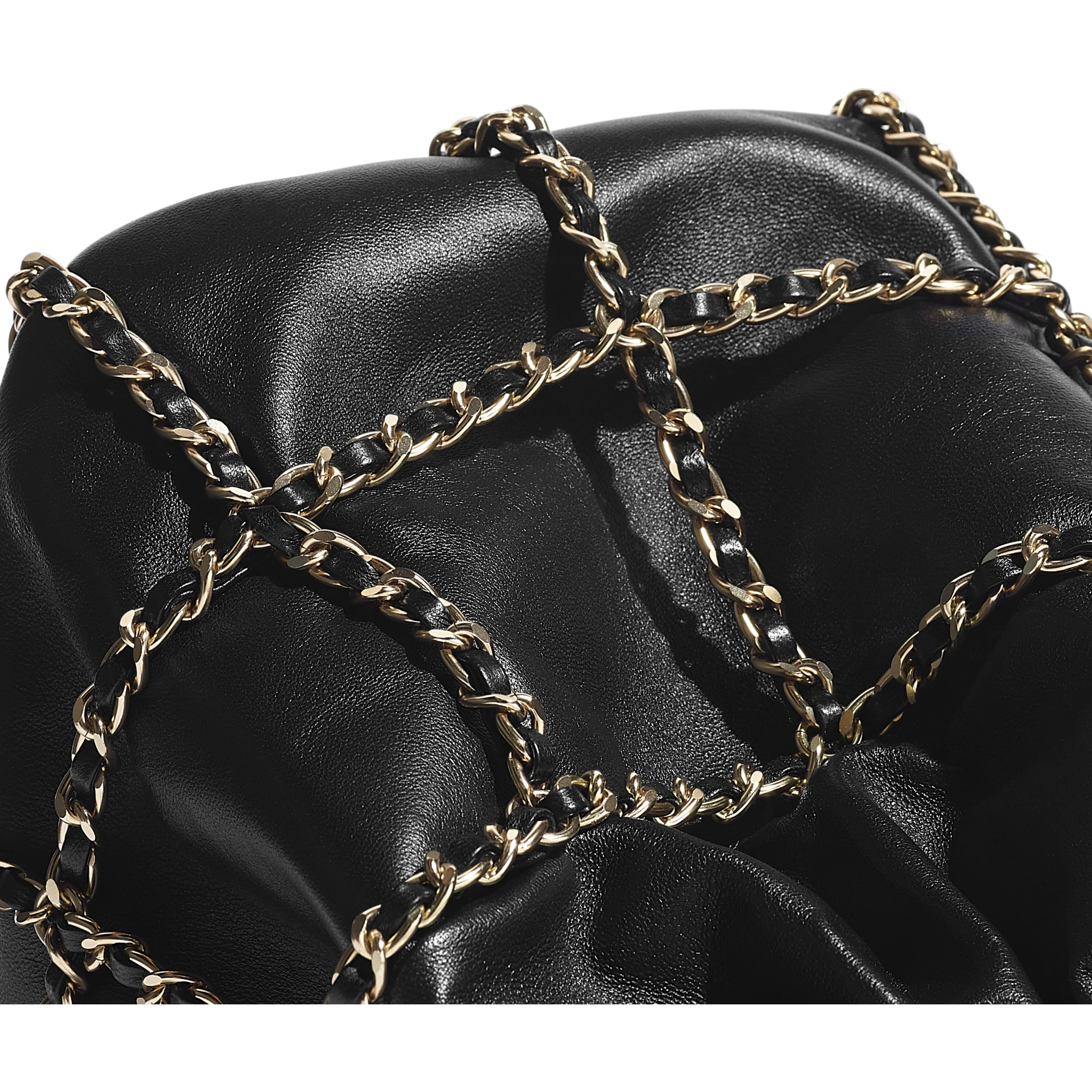 Drawstring Bag - Black - Lambskin & Gold Metal  - CHANEL - Extra view - see standard sized version