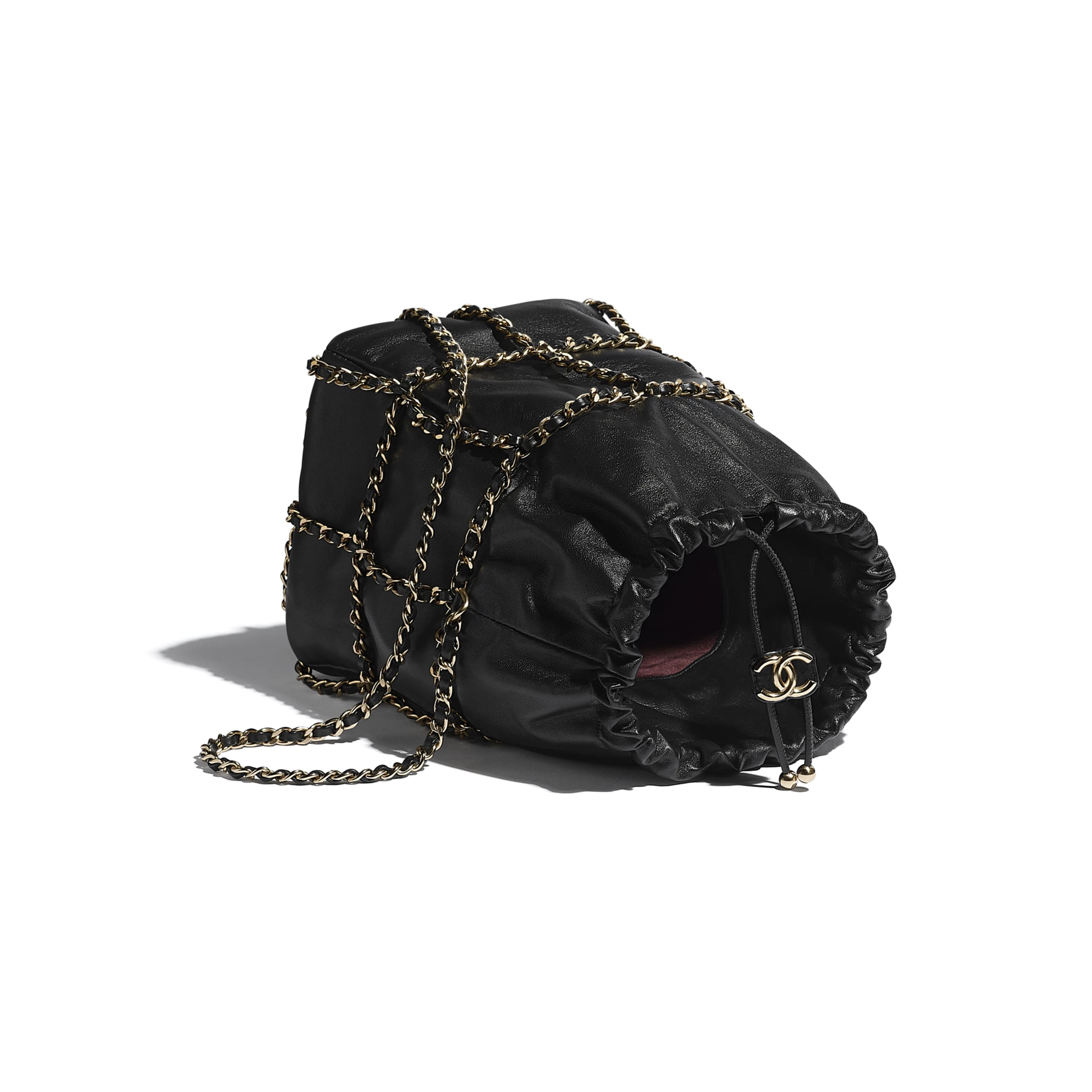 Drawstring Bag - Black - Lambskin & Gold Metal  - CHANEL - Other view - see standard sized version