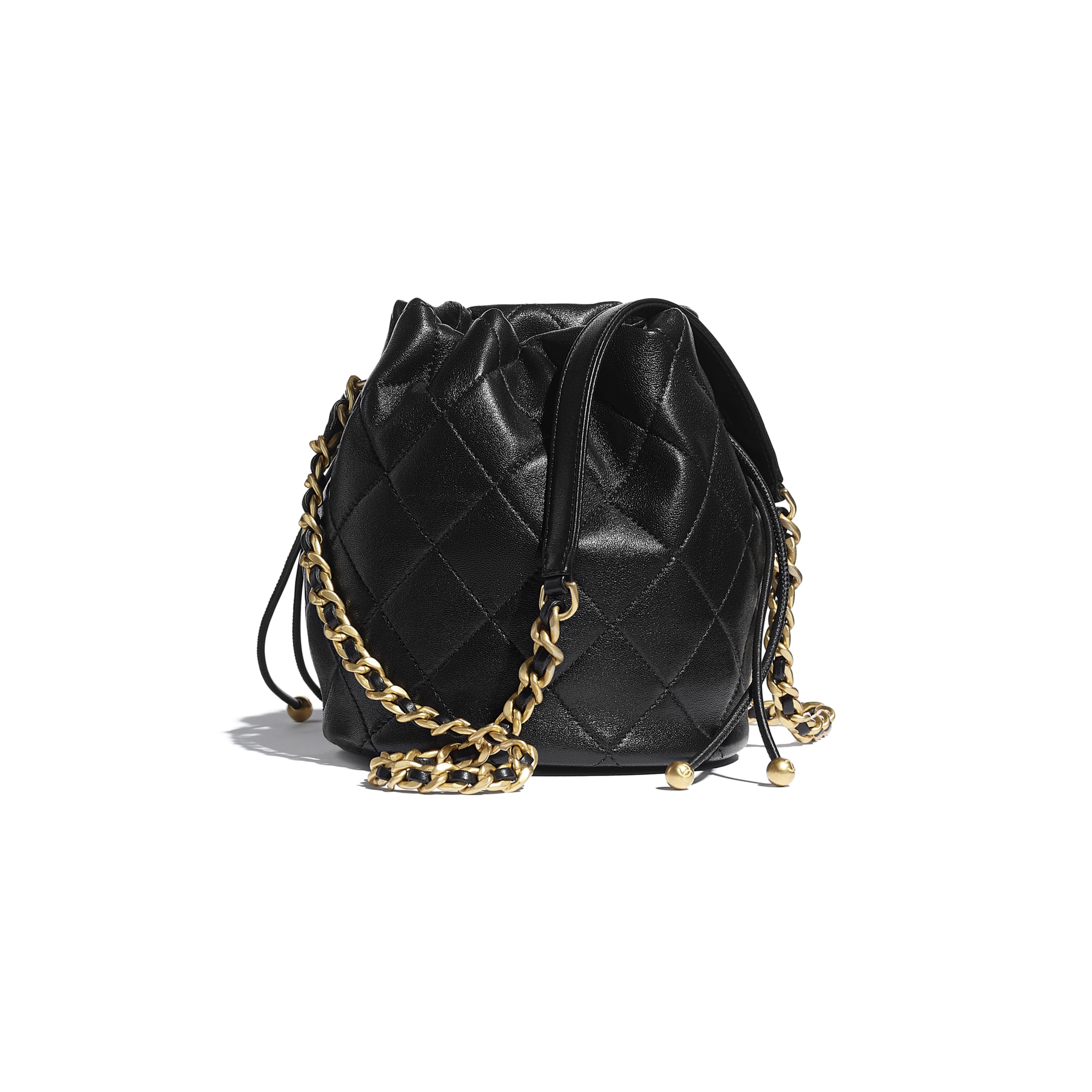 Drawstring Bag - Black - Shiny Lambskin & Gold-Tone Metal - CHANEL - Alternative view - see standard sized version