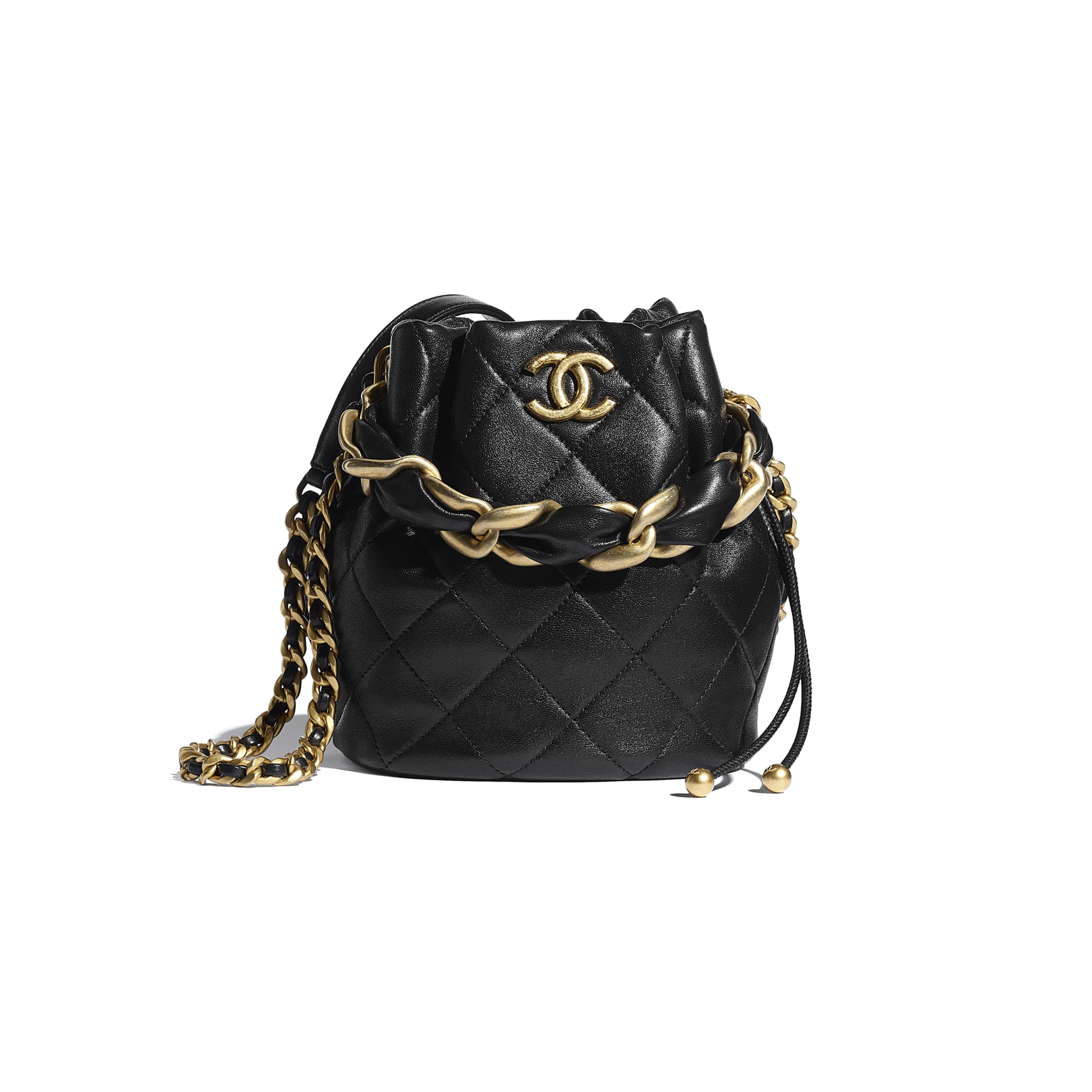 Drawstring Bag - Black - Shiny Lambskin & Gold-Tone Metal - CHANEL - Default view - see standard sized version