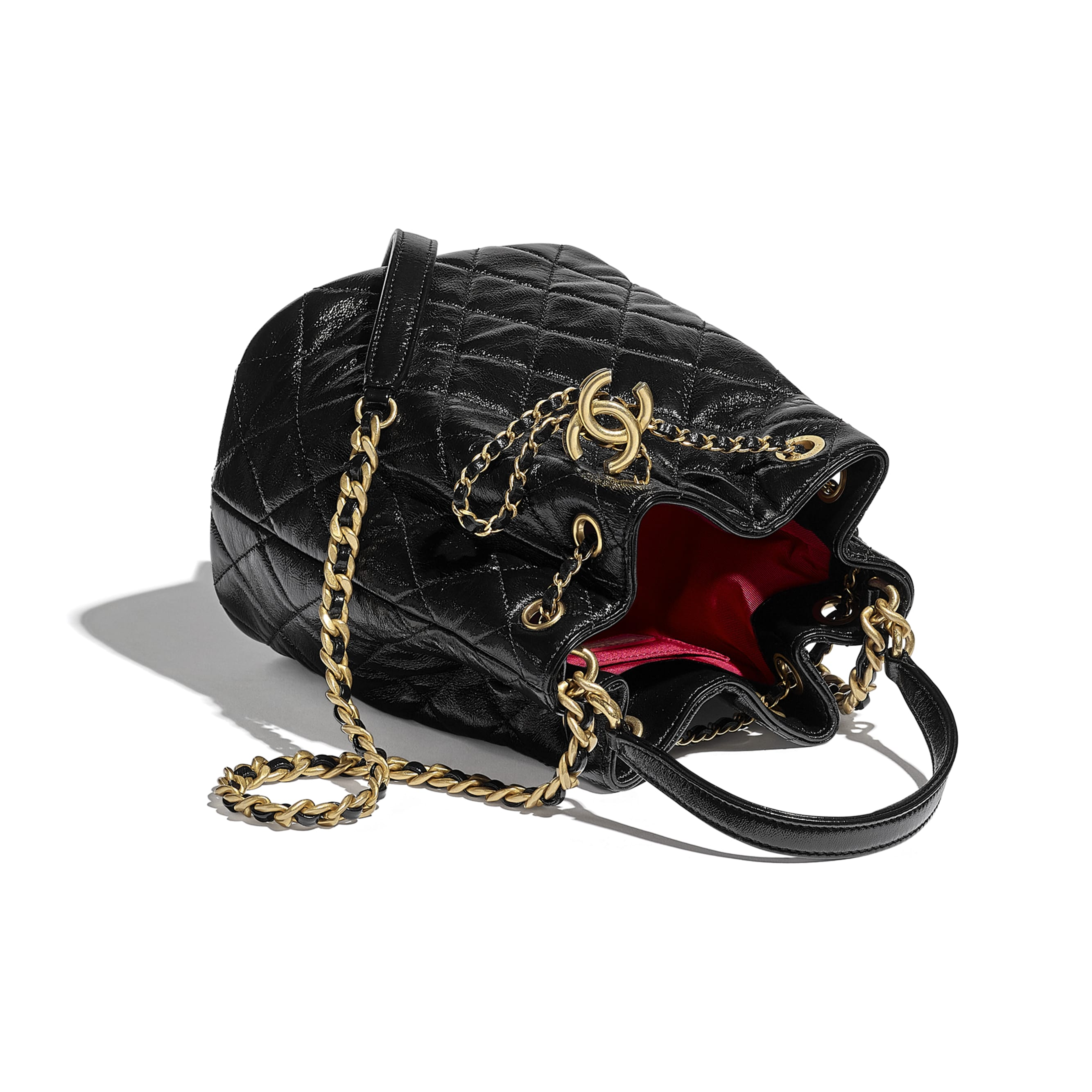 Drawstring Bag - Black - Shiny Lambskin & Gold-Tone Metal - CHANEL - Other view - see standard sized version