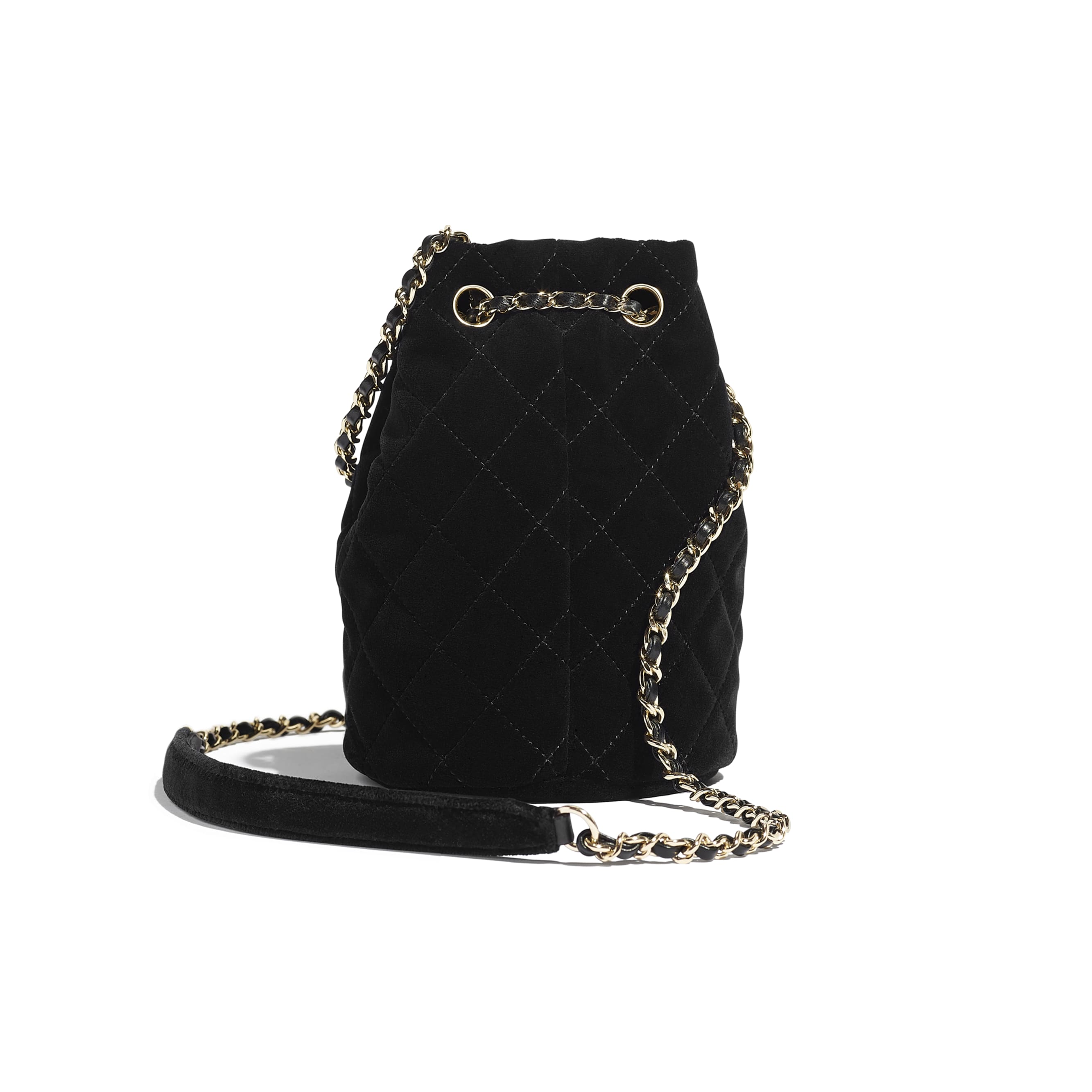 Drawstring Bag - Black - Velvet, Diamanté & Gold-Tone Metal - CHANEL - Alternative view - see standard sized version