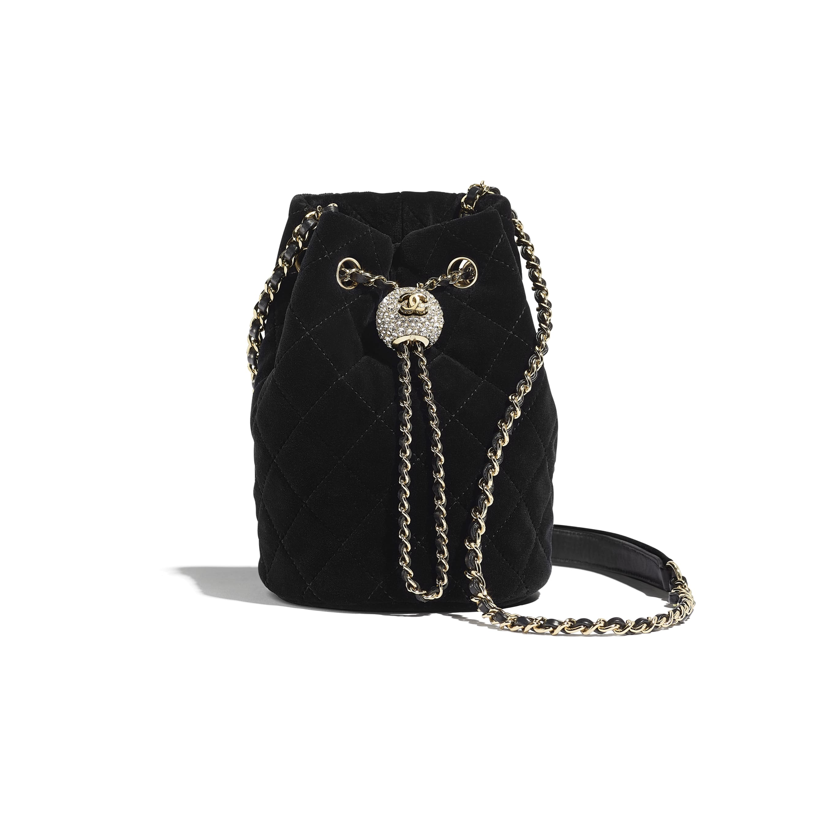 Drawstring Bag - Black - Velvet, Diamanté & Gold-Tone Metal - CHANEL - Default view - see standard sized version