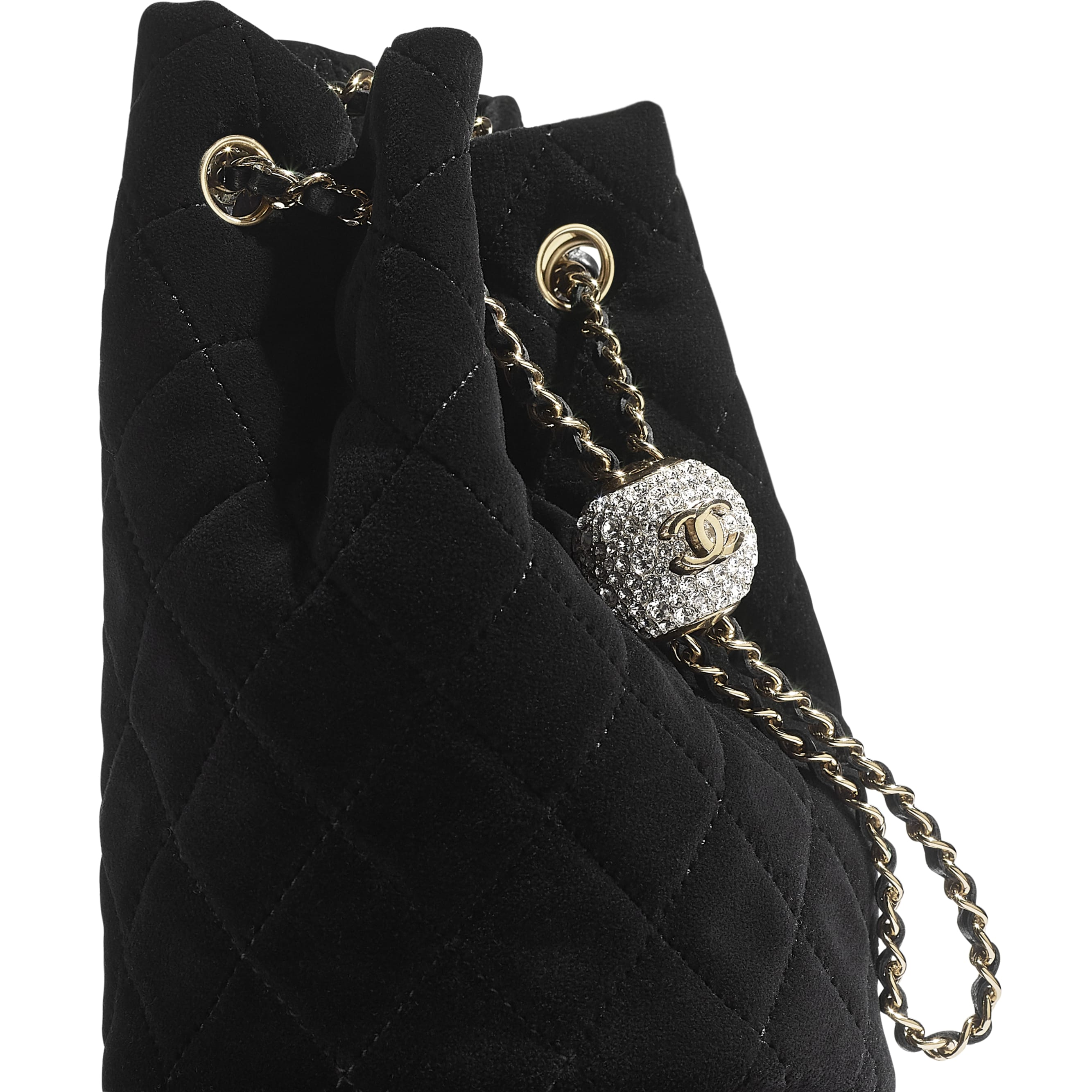 Drawstring Bag - Black - Velvet, Diamanté & Gold-Tone Metal - CHANEL - Extra view - see standard sized version