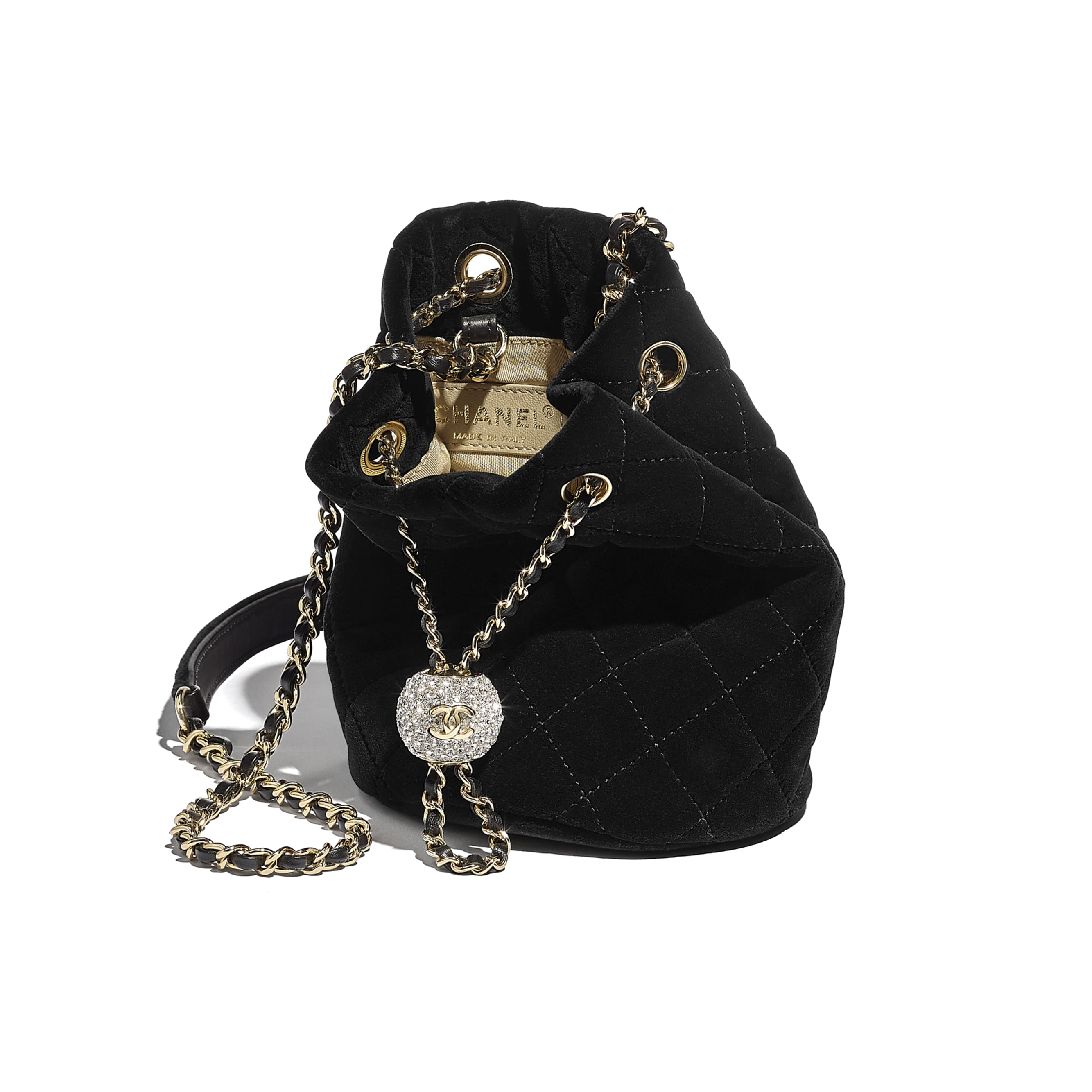 Drawstring Bag - Black - Velvet, Diamanté & Gold-Tone Metal - CHANEL - Other view - see standard sized version