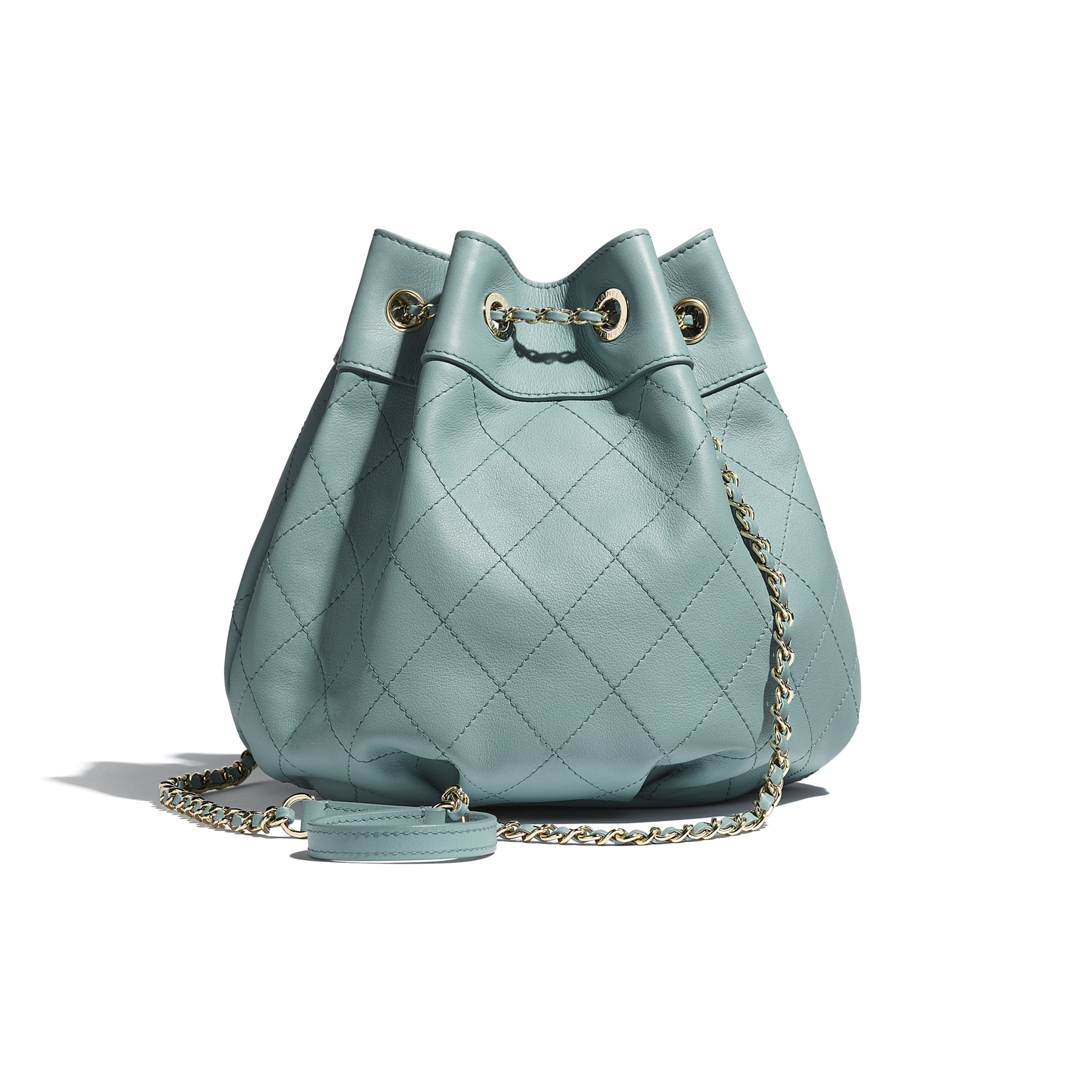 Drawstring Bag - Blue - Calfskin & Gold-Tone Metal - CHANEL - Alternative view - see standard sized version