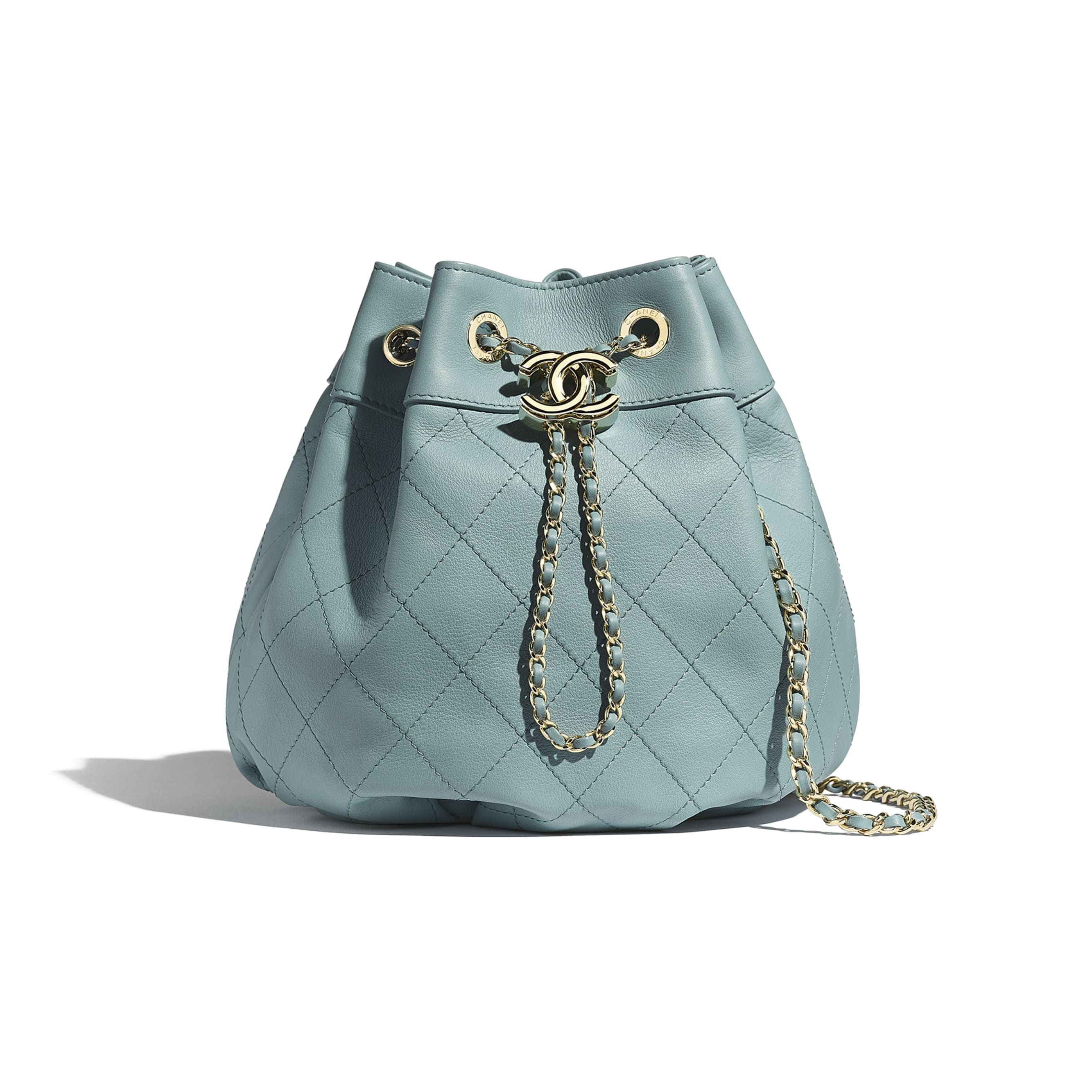 Drawstring Bag - Blue - Calfskin & Gold-Tone Metal - CHANEL - Default view - see standard sized version
