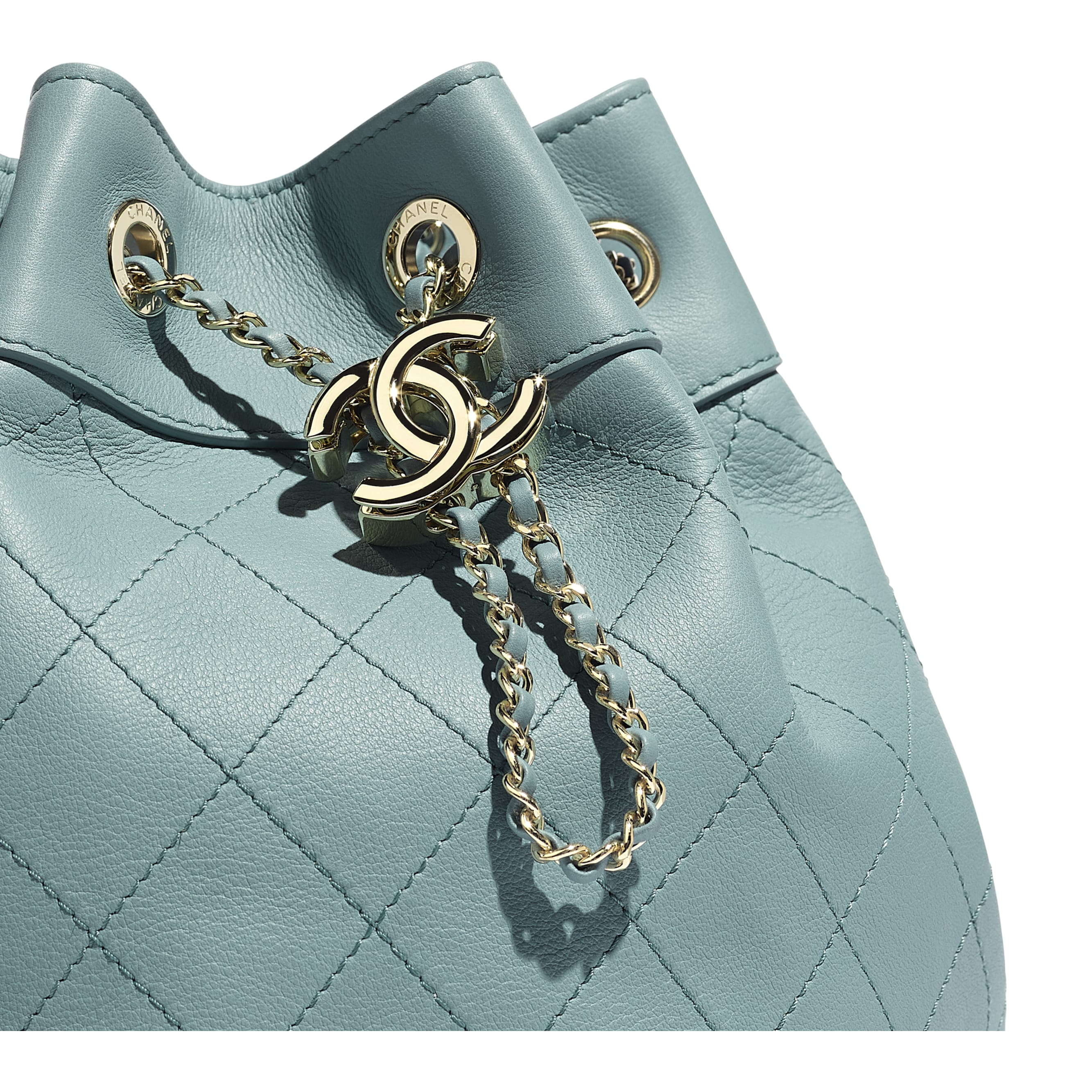 Drawstring Bag - Blue - Calfskin & Gold-Tone Metal - CHANEL - Extra view - see standard sized version