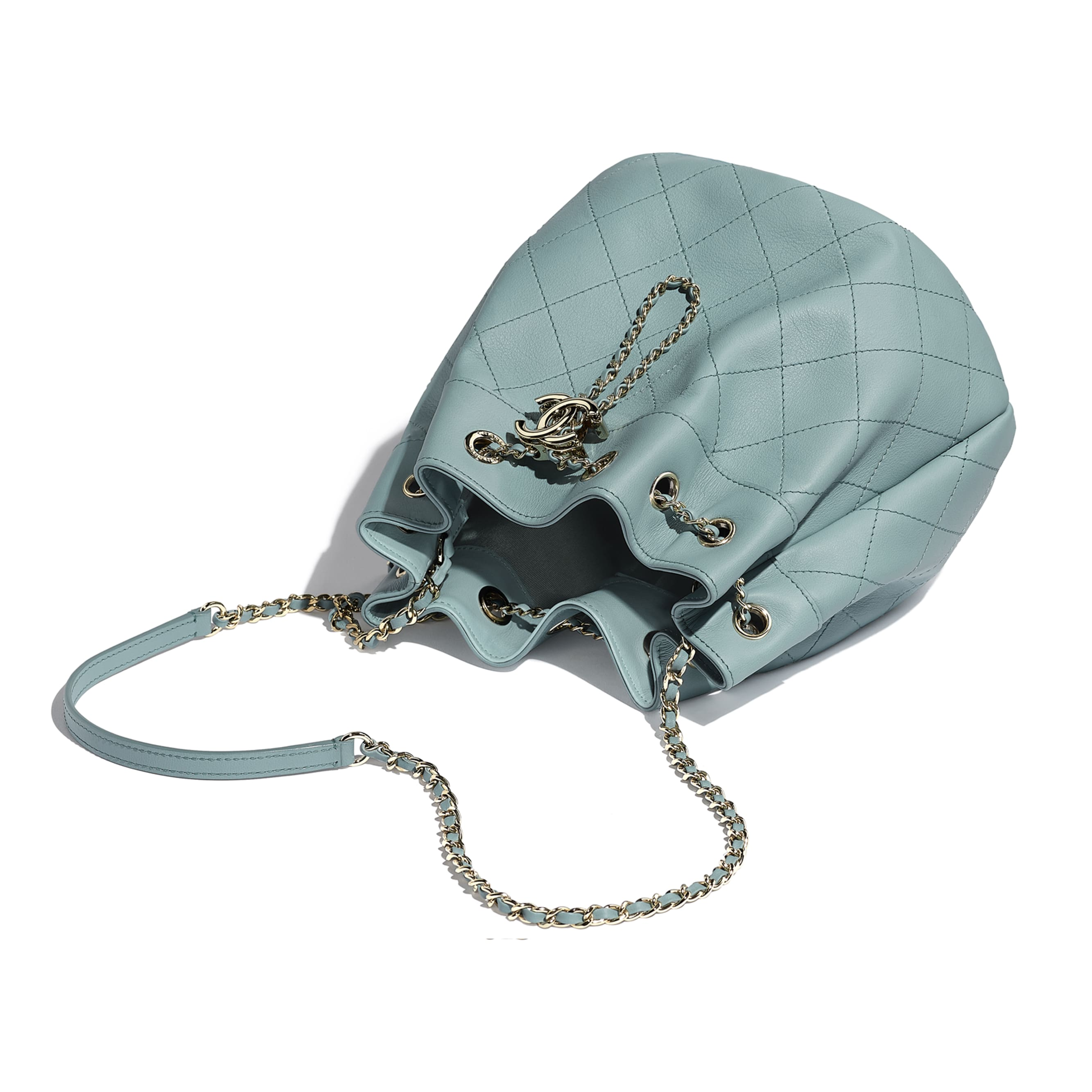 Drawstring Bag - Blue - Calfskin & Gold-Tone Metal - CHANEL - Other view - see standard sized version