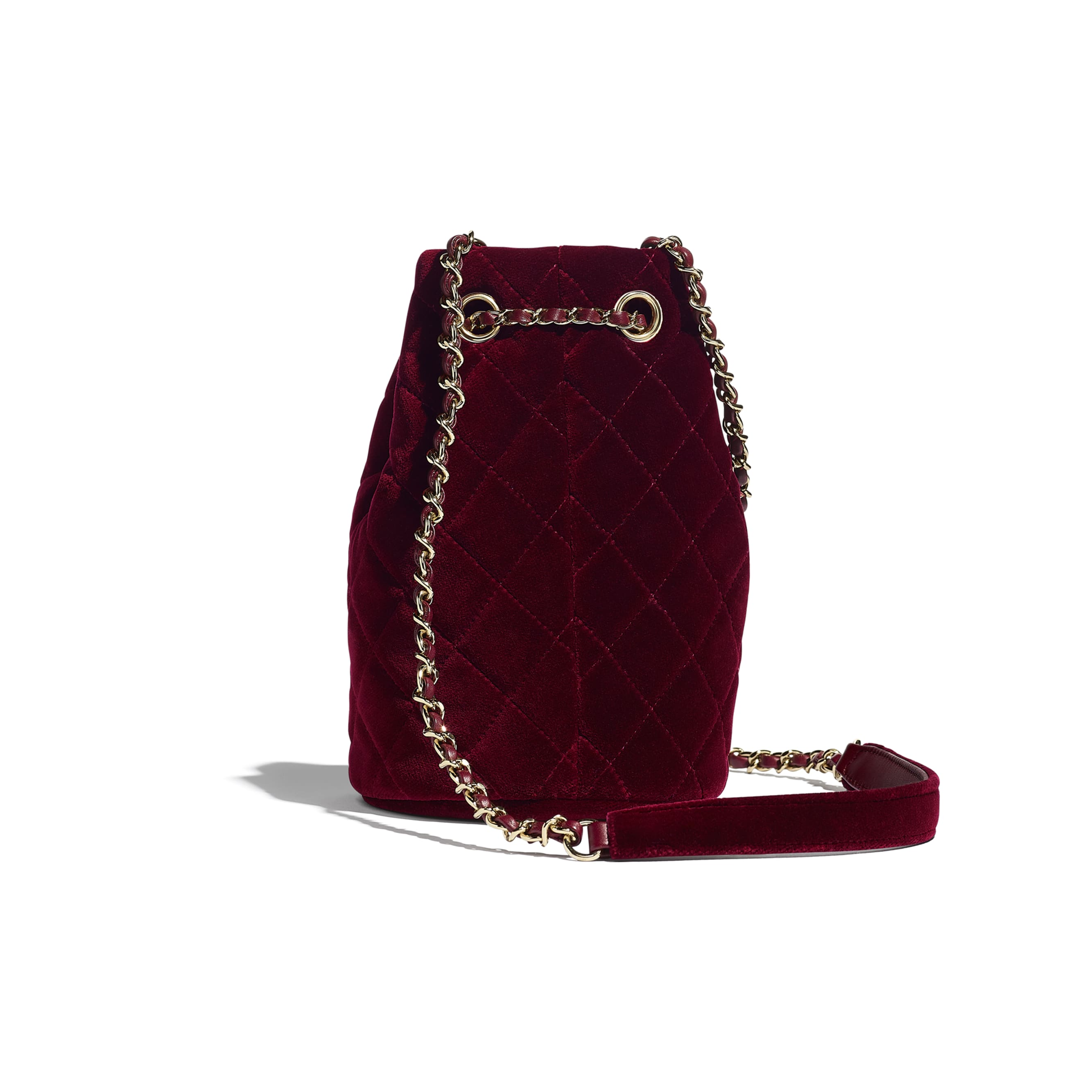 Drawstring Bag - Burgundy - Velvet, Diamanté & Gold-Tone Metal - CHANEL - Alternative view - see standard sized version