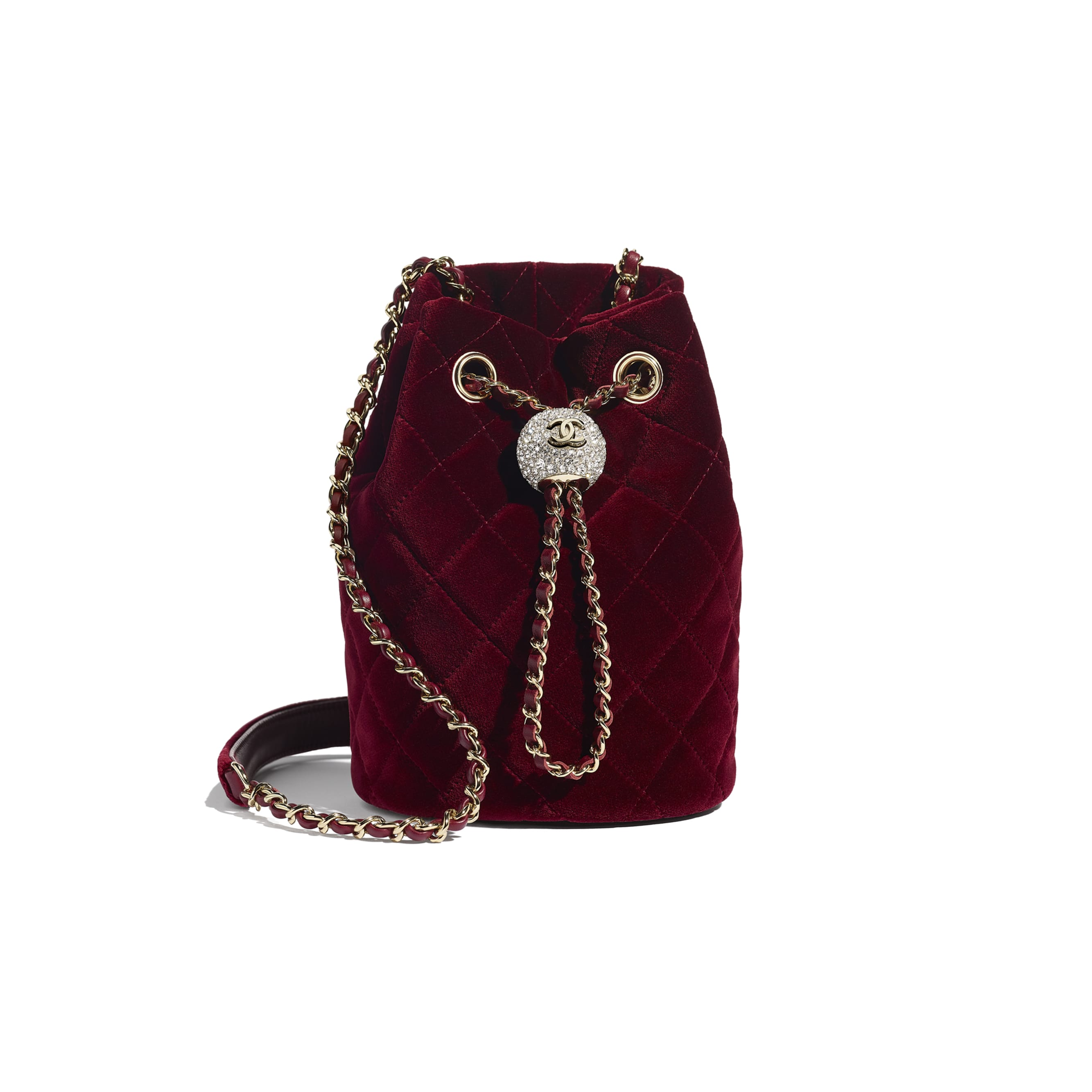 Drawstring Bag - Burgundy - Velvet, Diamanté & Gold-Tone Metal - CHANEL - Default view - see standard sized version