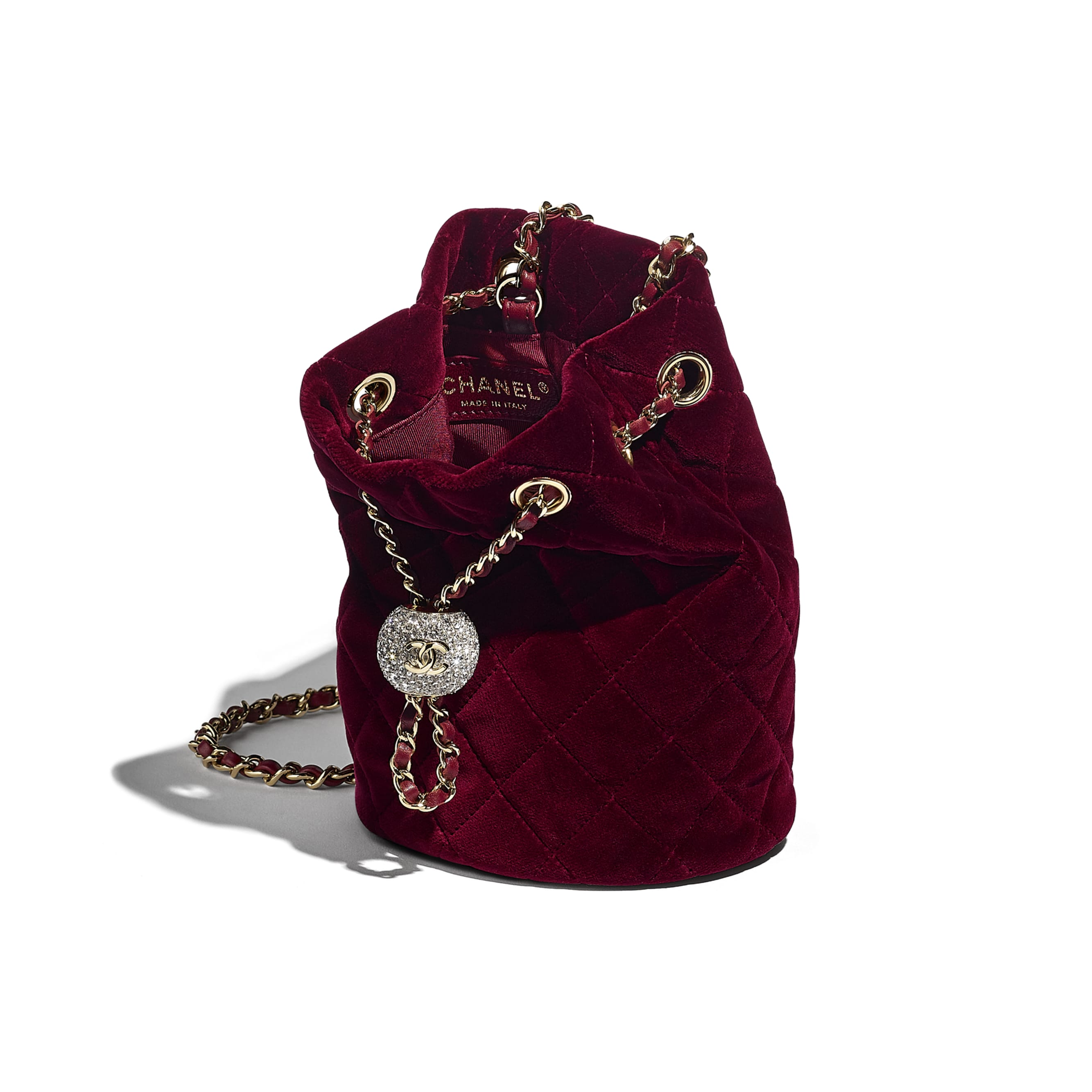 Drawstring Bag - Burgundy - Velvet, Diamanté & Gold-Tone Metal - CHANEL - Other view - see standard sized version