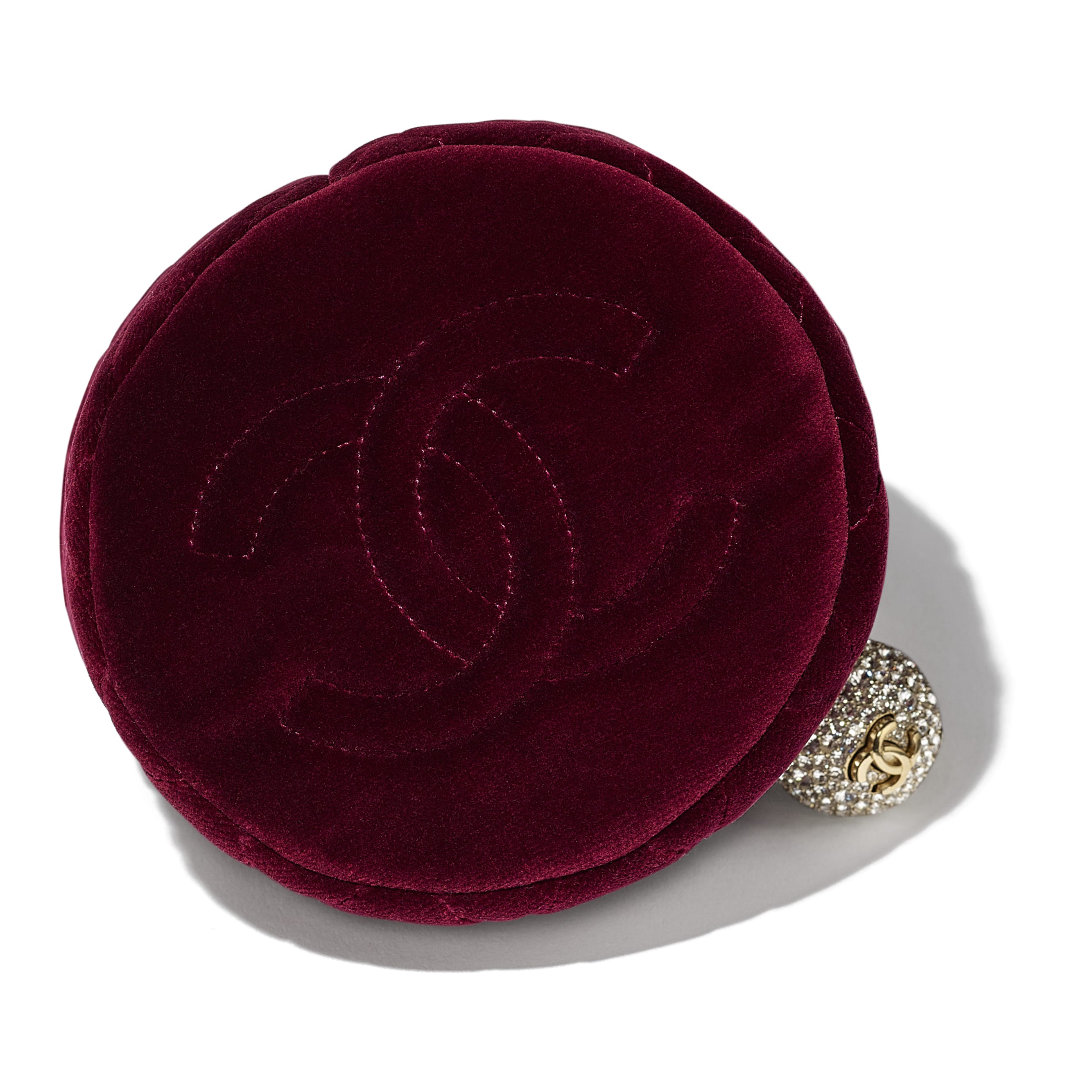 Drawstring Bag - Burgundy - Velvet, Diamanté & Silver-Tone Metal - CHANEL - Extra view - see standard sized version