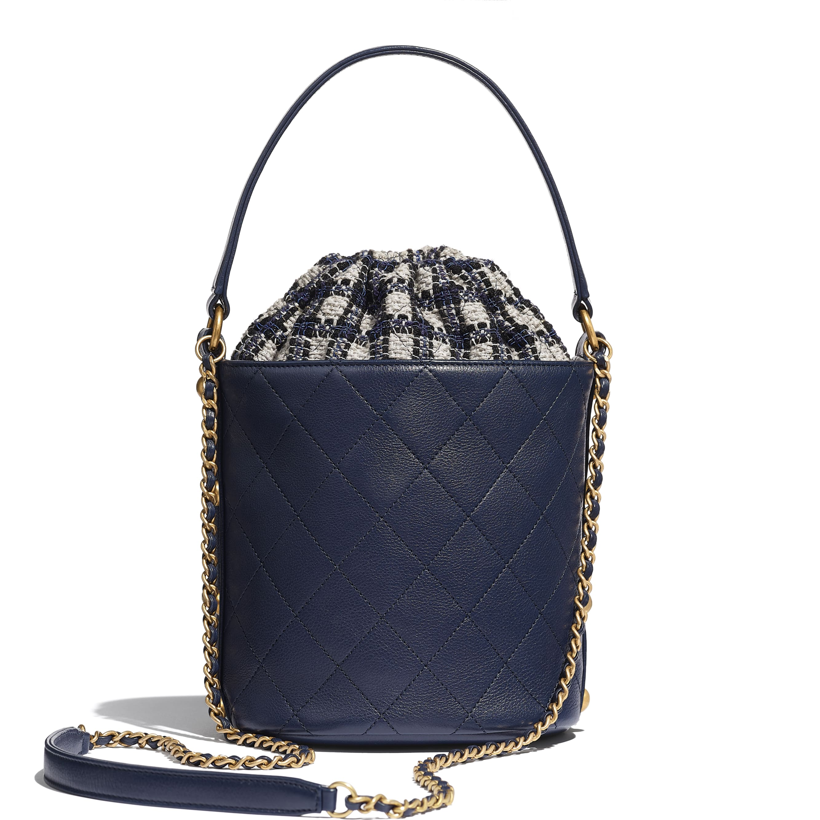 Drawstring Bag - Navy Blue, Black & Grey - Calfskin, Tweed & Gold-Tone Metal - CHANEL - Alternative view - see standard sized version