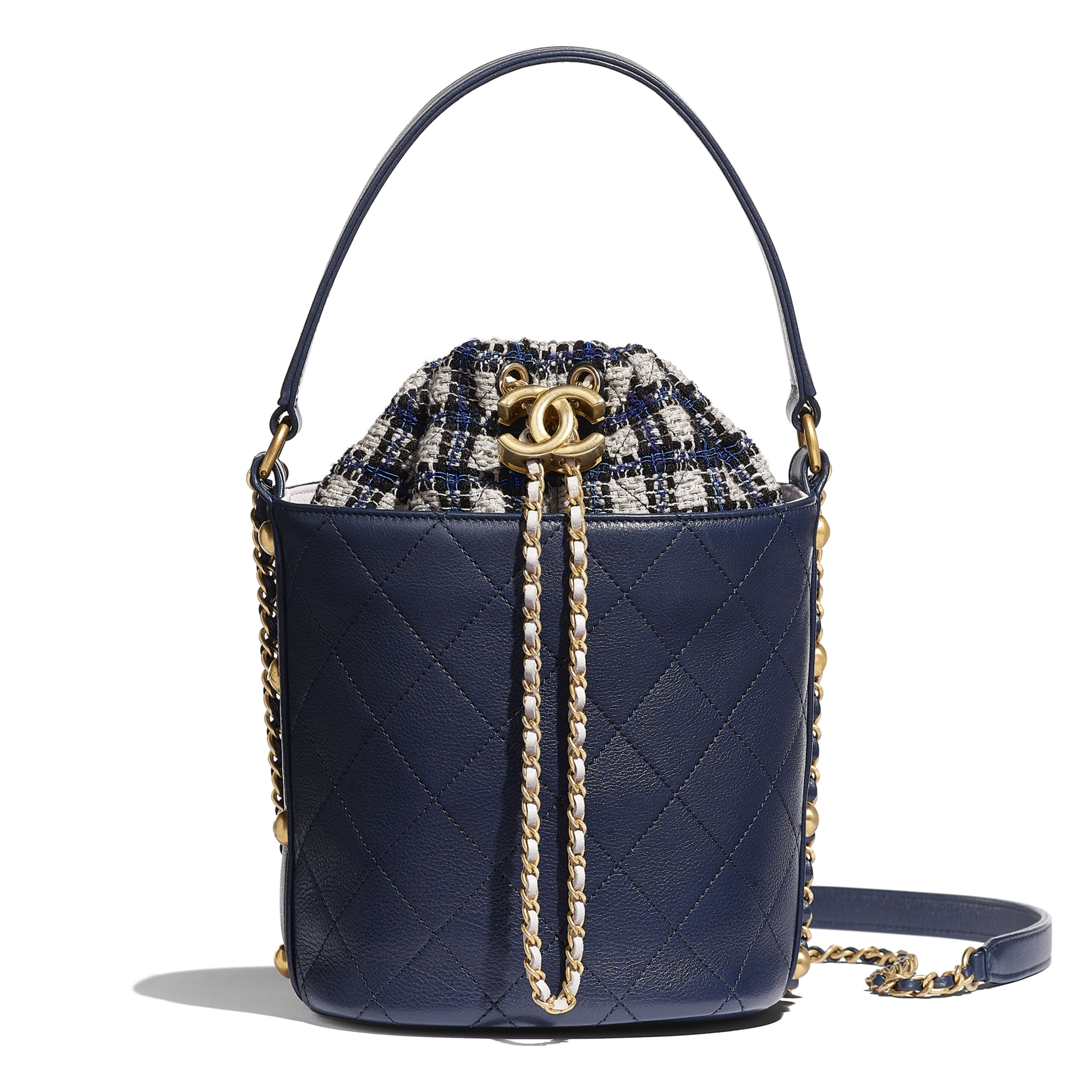 Drawstring Bag - Navy Blue, Black & Grey - Calfskin, Tweed & Gold-Tone Metal - CHANEL - Default view - see standard sized version