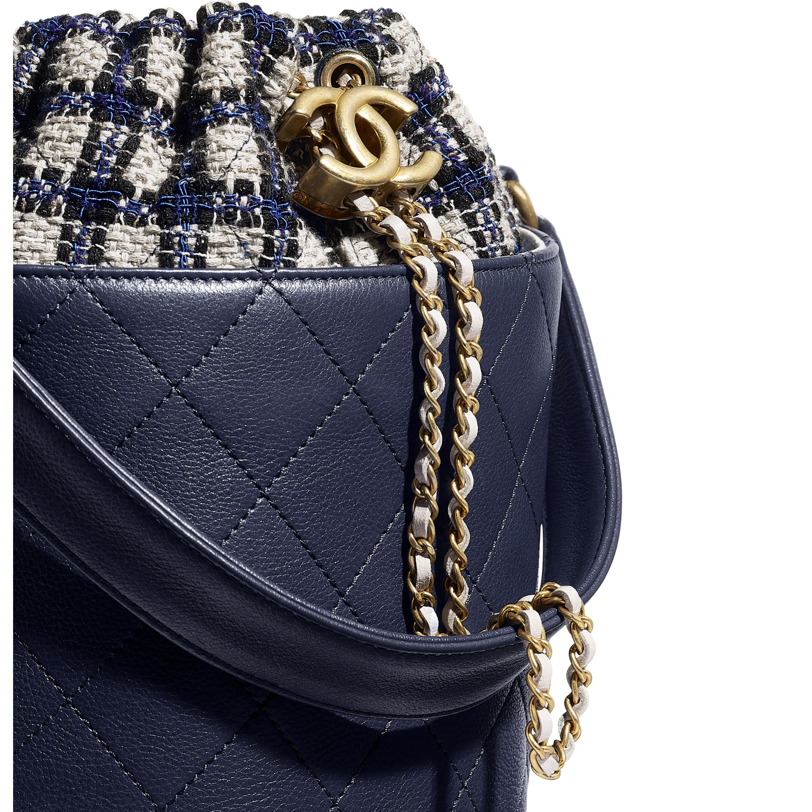 Drawstring Bag - Navy Blue, Black & Grey - Calfskin, Tweed & Gold-Tone Metal - CHANEL - Extra view - see standard sized version
