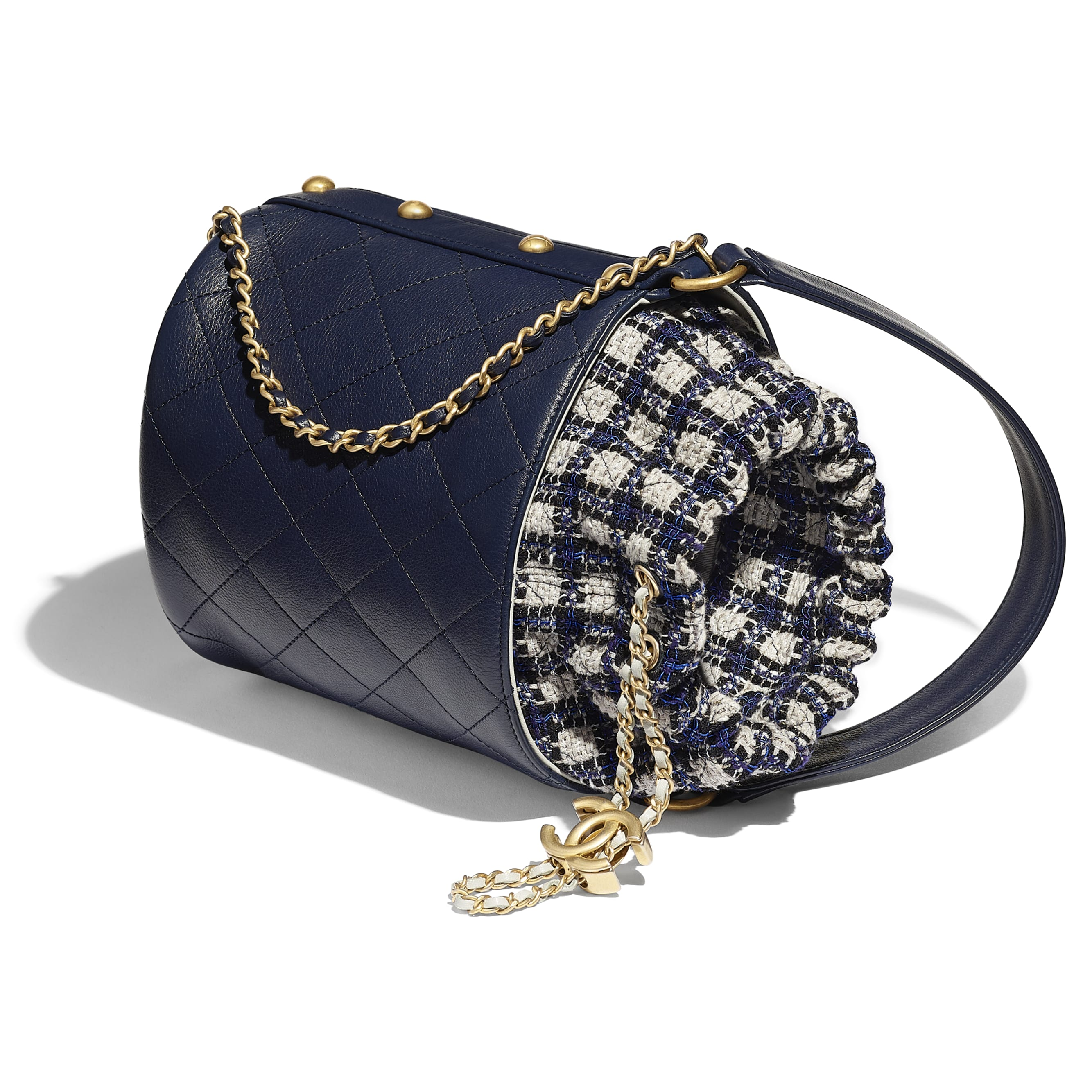 Drawstring Bag - Navy Blue, Black & Grey - Calfskin, Tweed & Gold-Tone Metal - CHANEL - Other view - see standard sized version