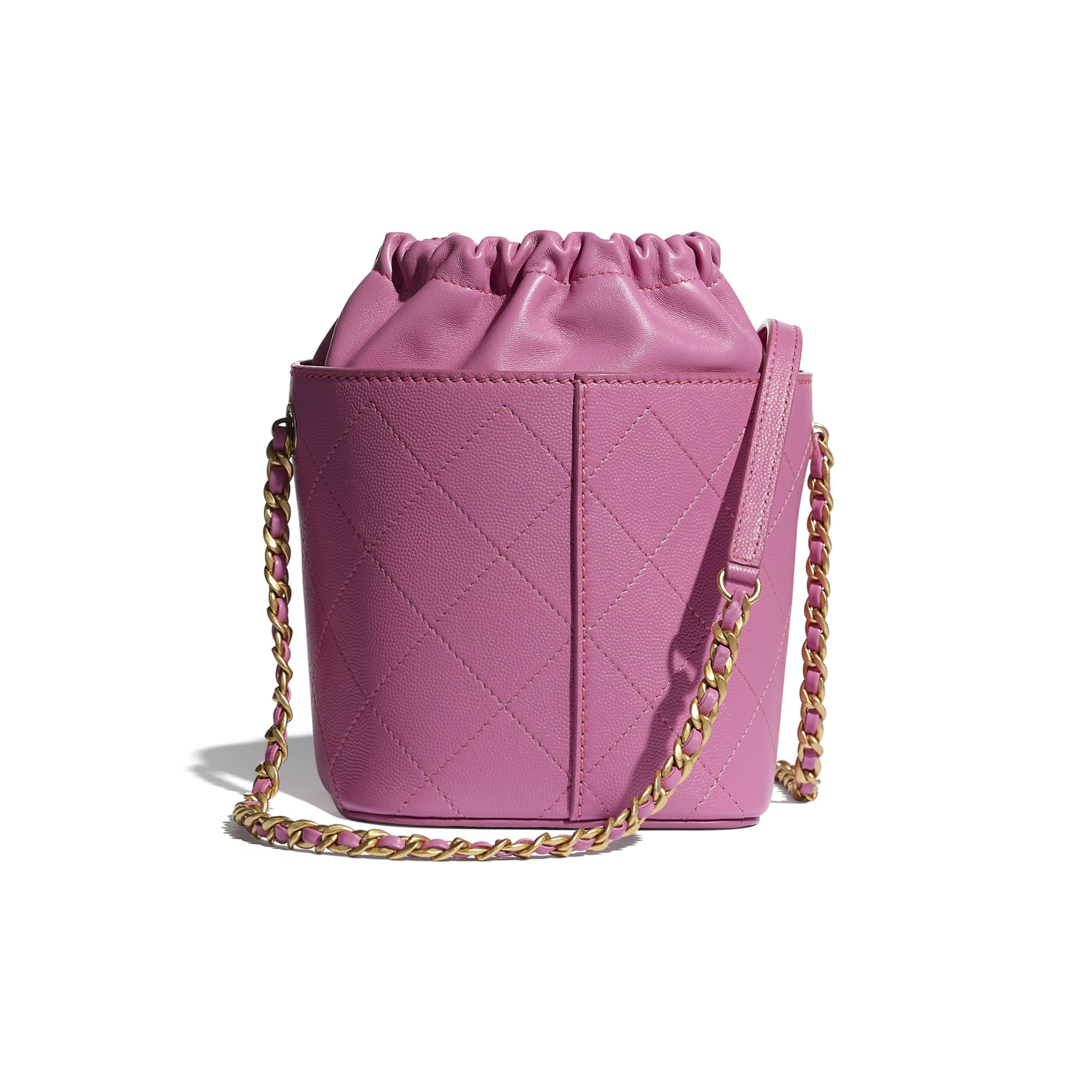 Drawstring Bag - Pink - Grained Lambskin, Smooth Lambskin & Gold-Tone Metal - CHANEL - Alternative view - see standard sized version