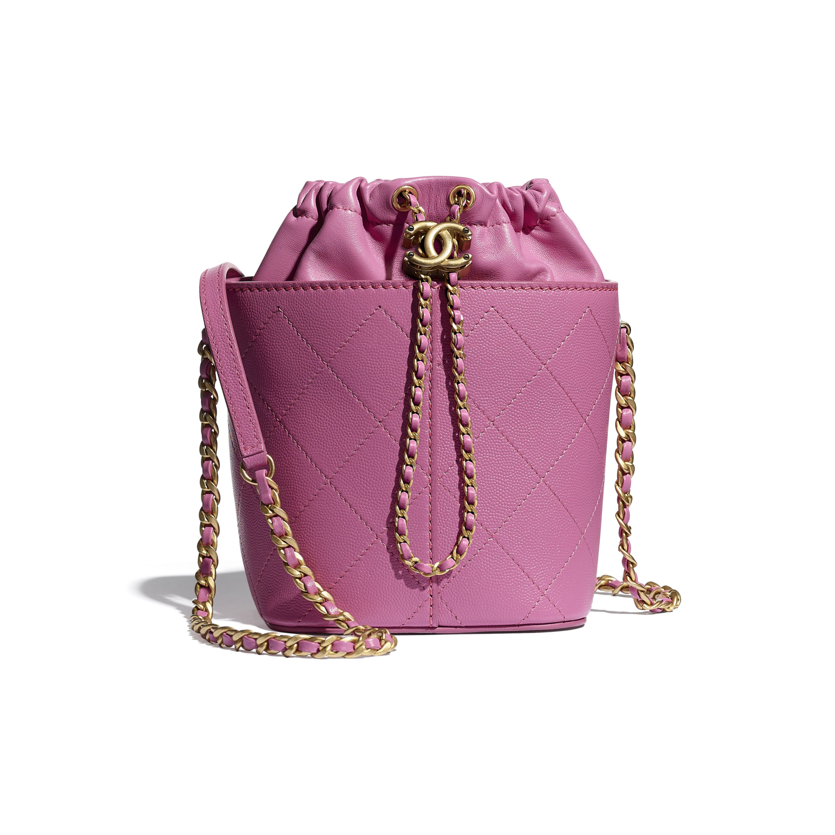 Drawstring Bag - Pink - Grained Lambskin, Smooth Lambskin & Gold-Tone Metal - CHANEL - Default view - see standard sized version