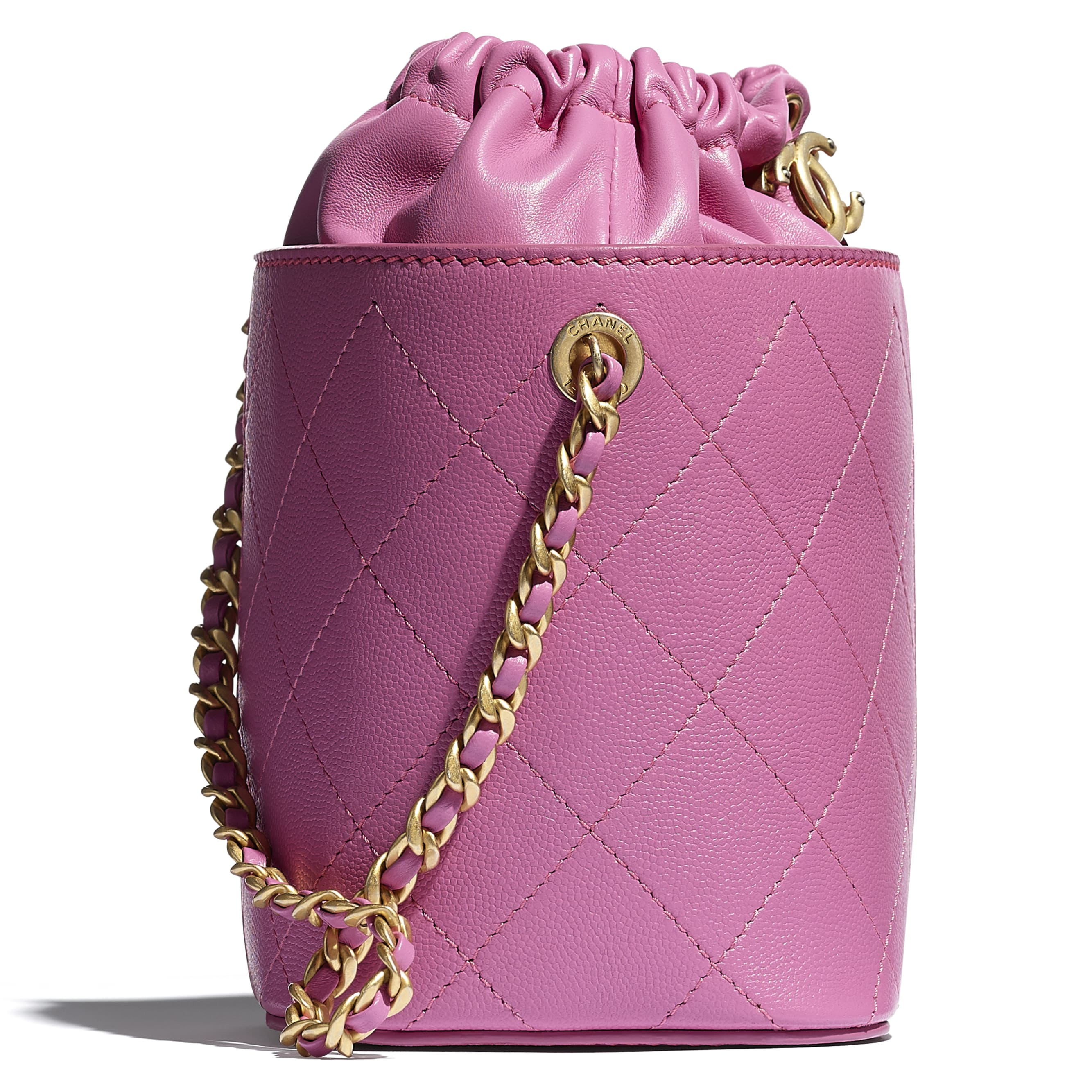 Drawstring Bag - Pink - Grained Lambskin, Smooth Lambskin & Gold-Tone Metal - CHANEL - Extra view - see standard sized version