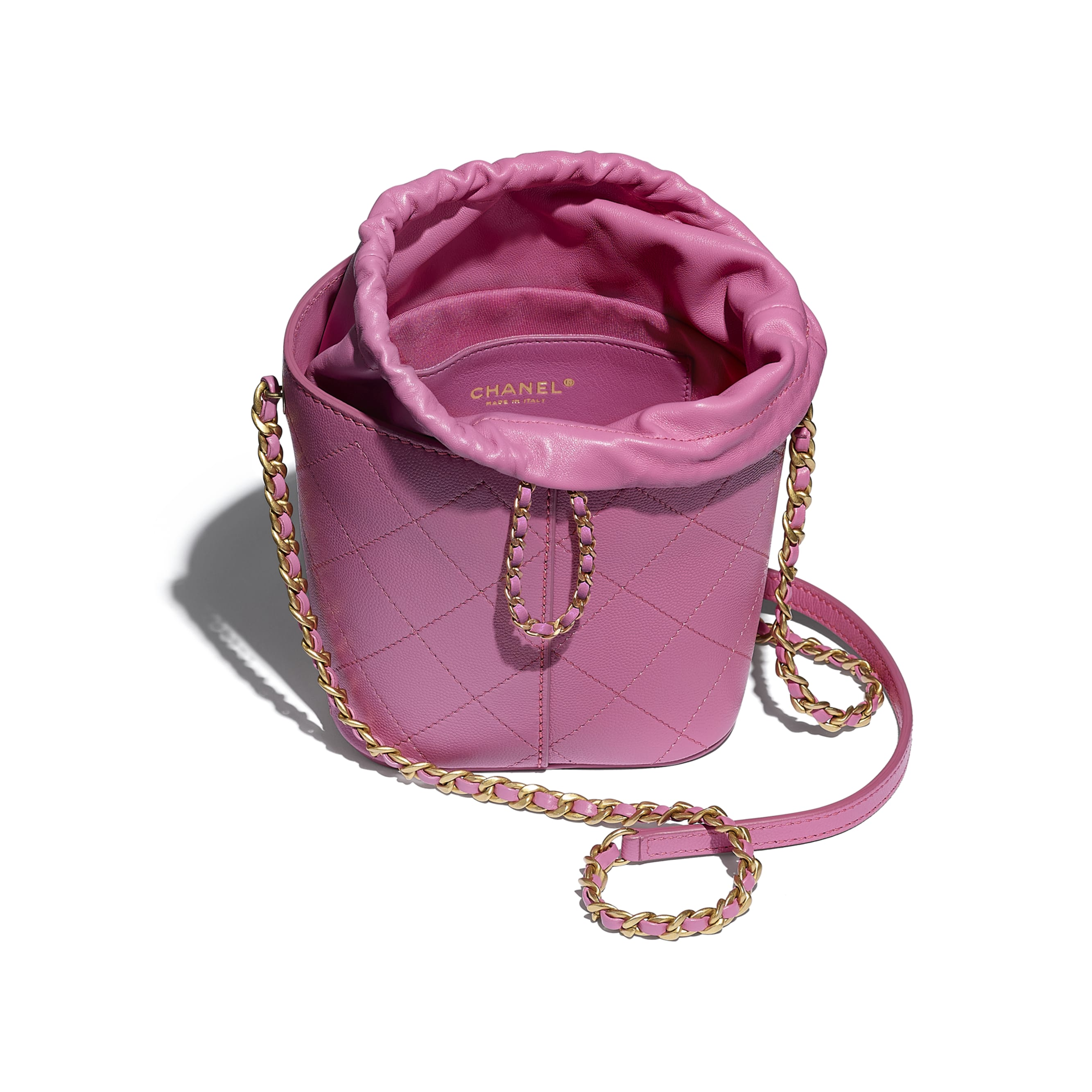 Drawstring Bag - Pink - Grained Lambskin, Smooth Lambskin & Gold-Tone Metal - CHANEL - Other view - see standard sized version