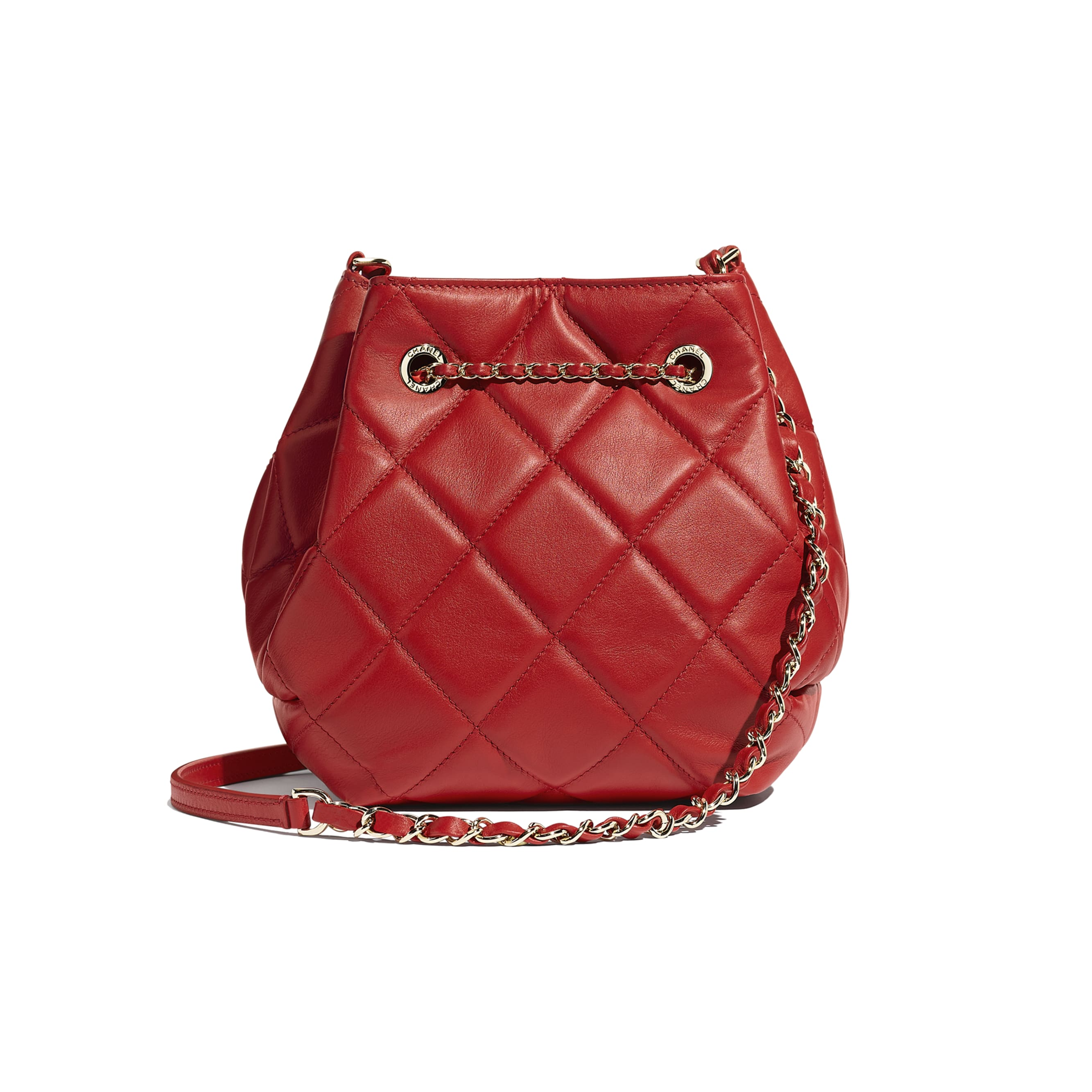 Drawstring Bag - Red - Lambskin & Gold-Tone Metal - CHANEL - Alternative view - see standard sized version