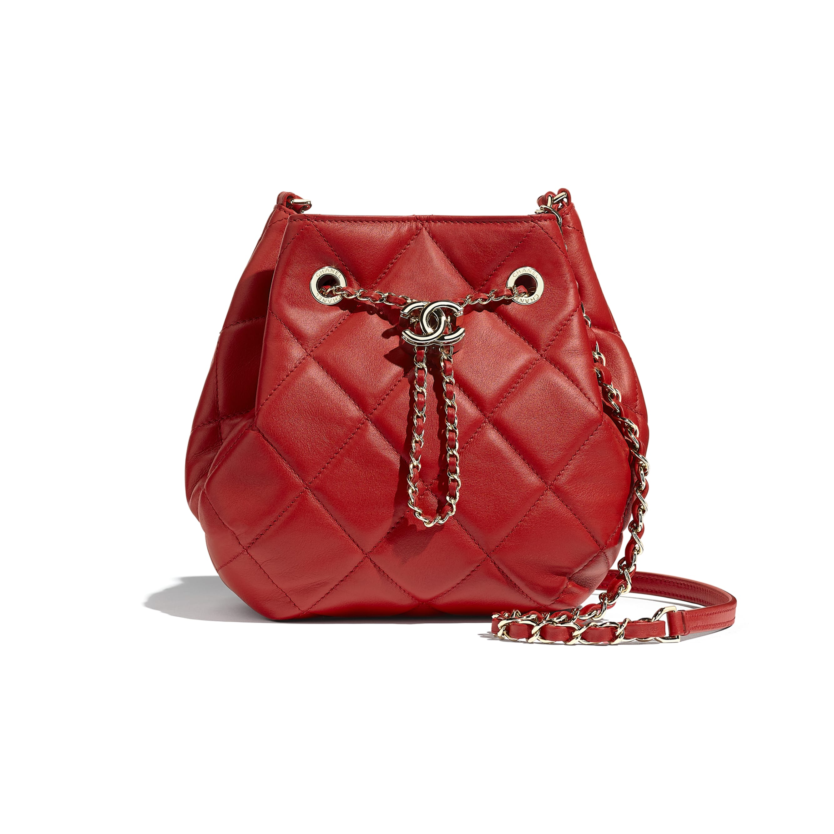 Drawstring Bag - Red - Lambskin & Gold-Tone Metal - CHANEL - Default view - see standard sized version