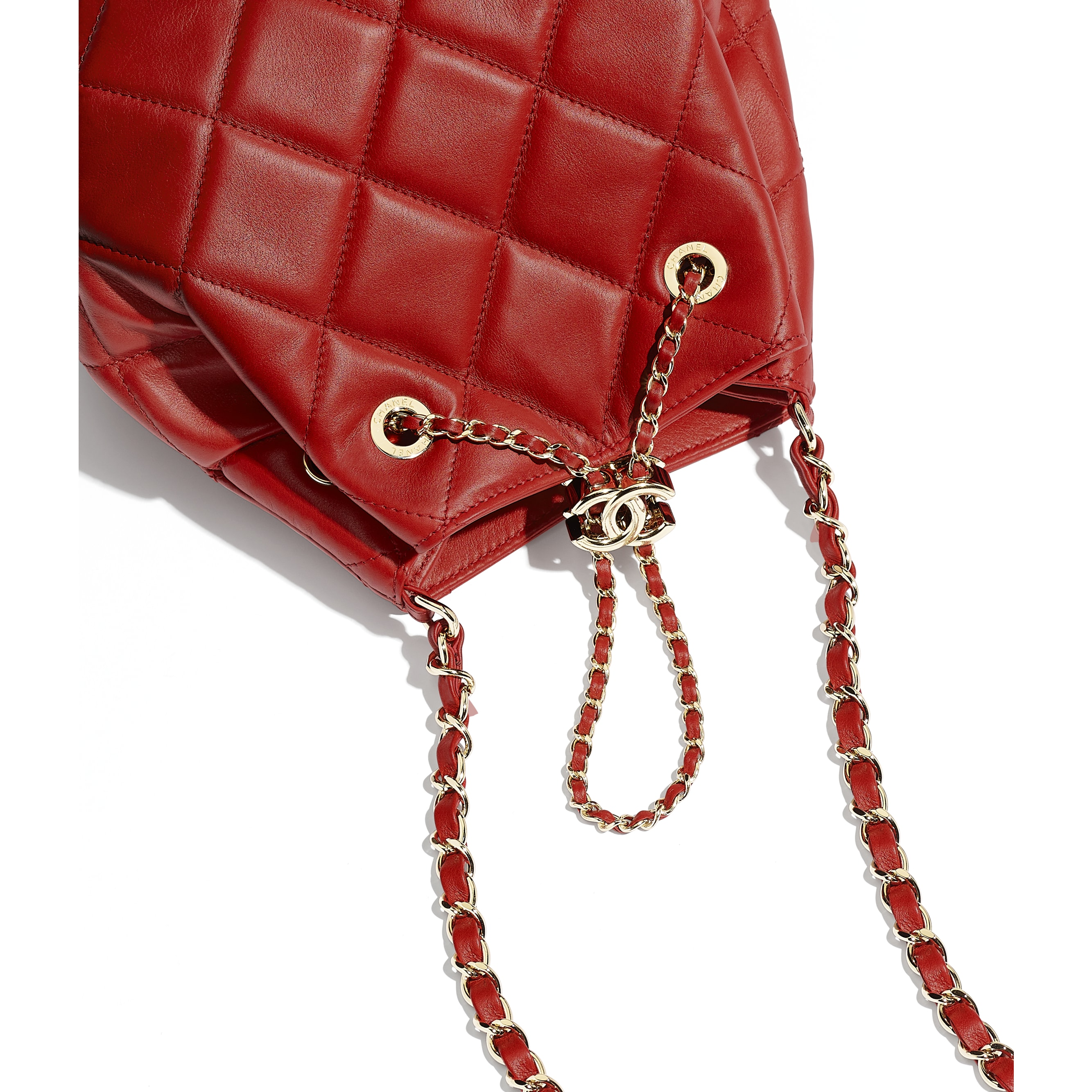 Drawstring Bag - Red - Lambskin & Gold-Tone Metal - CHANEL - Extra view - see standard sized version
