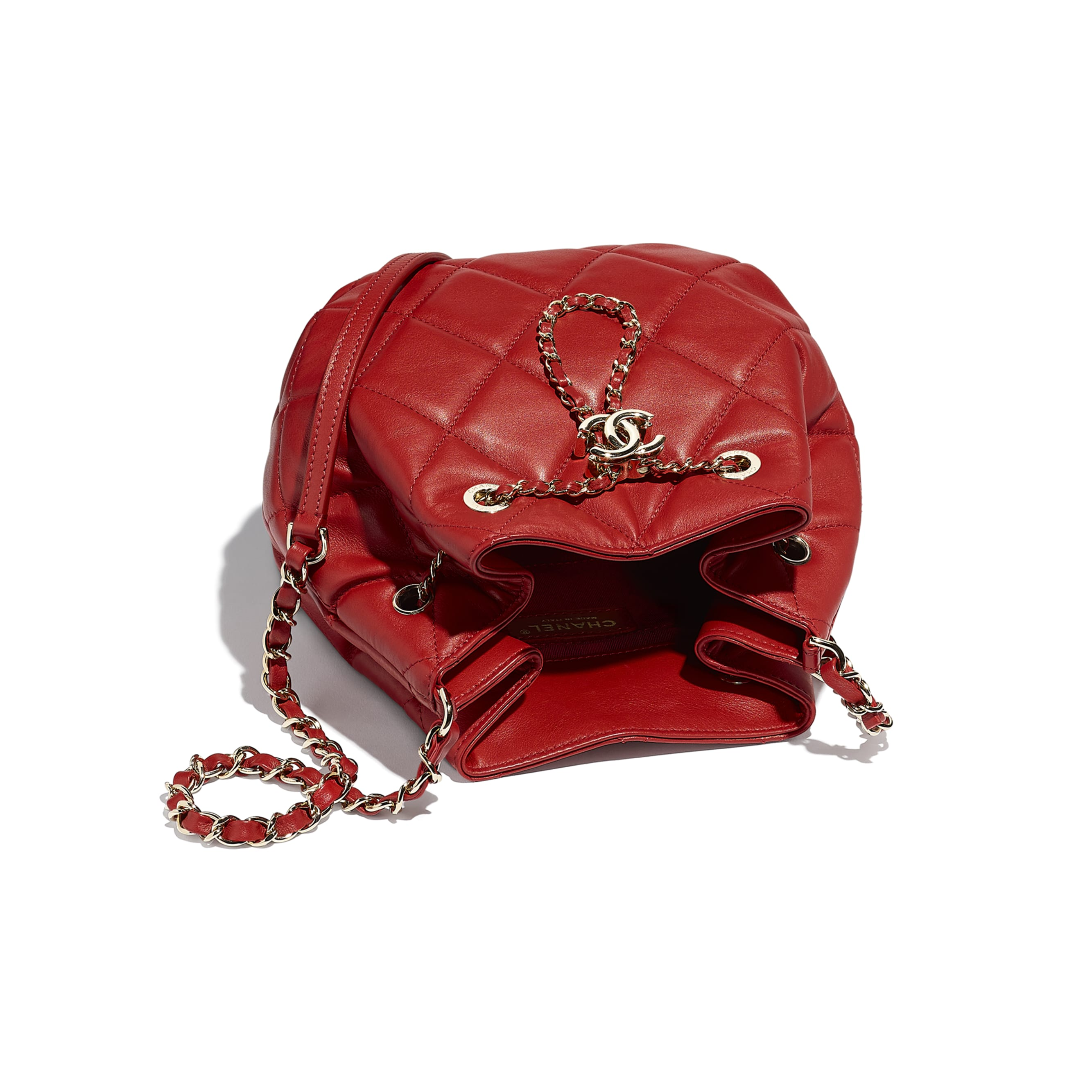 Drawstring Bag - Red - Lambskin & Gold-Tone Metal - CHANEL - Other view - see standard sized version