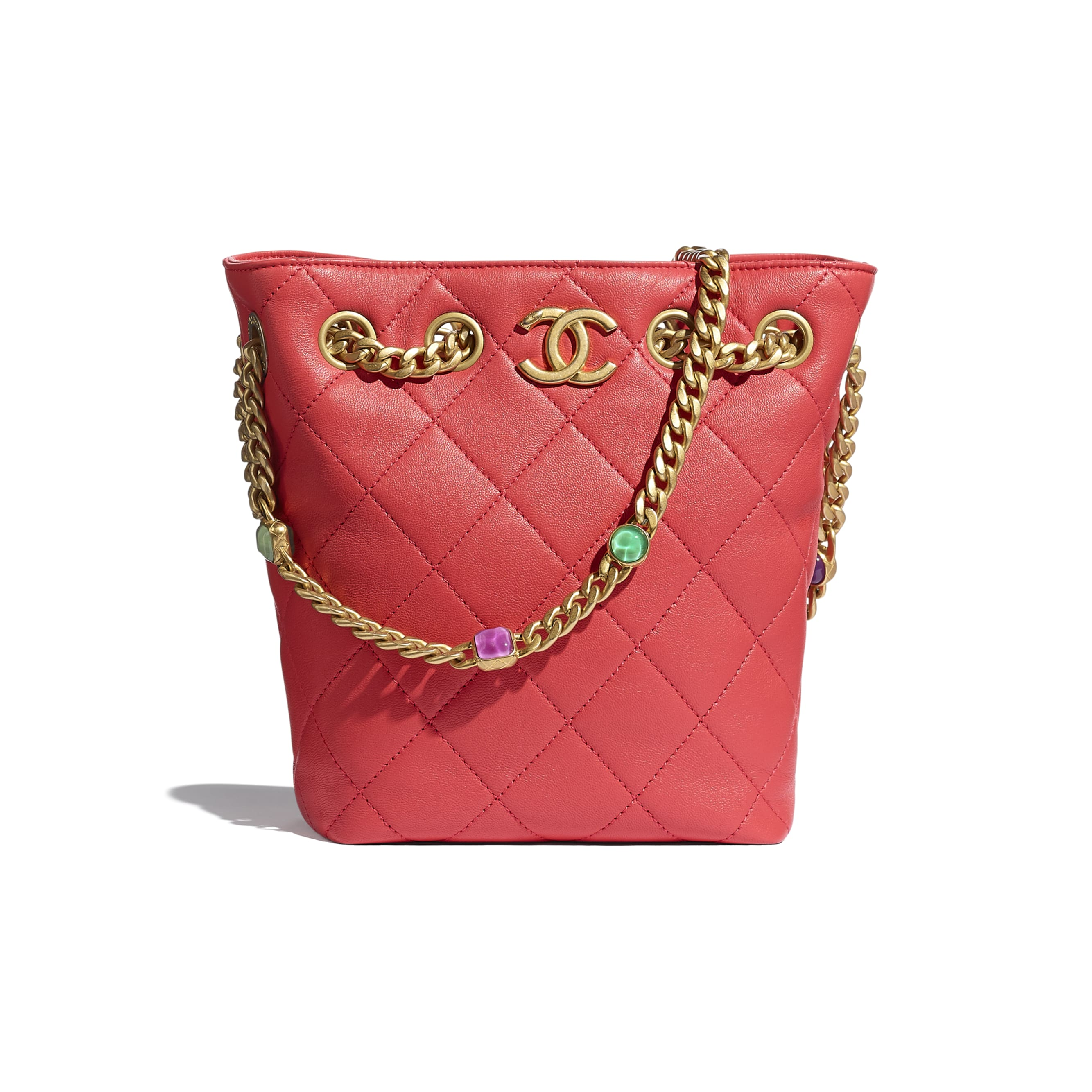 Drawstring Bag - Red - Lambskin, Resin & Gold-Tone Metal - CHANEL - Default view - see standard sized version