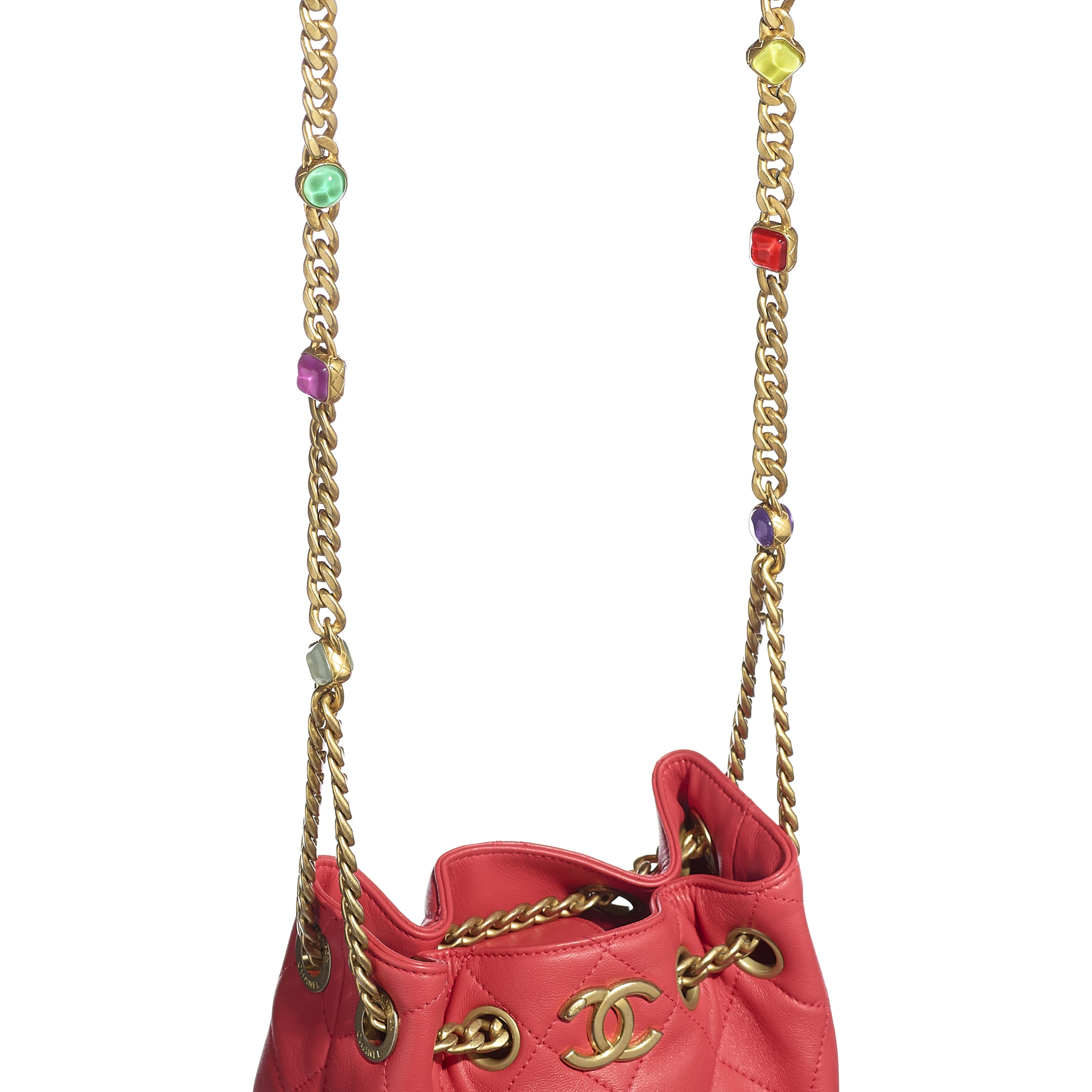 Drawstring Bag - Red - Lambskin, Resin & Gold-Tone Metal - CHANEL - Extra view - see standard sized version