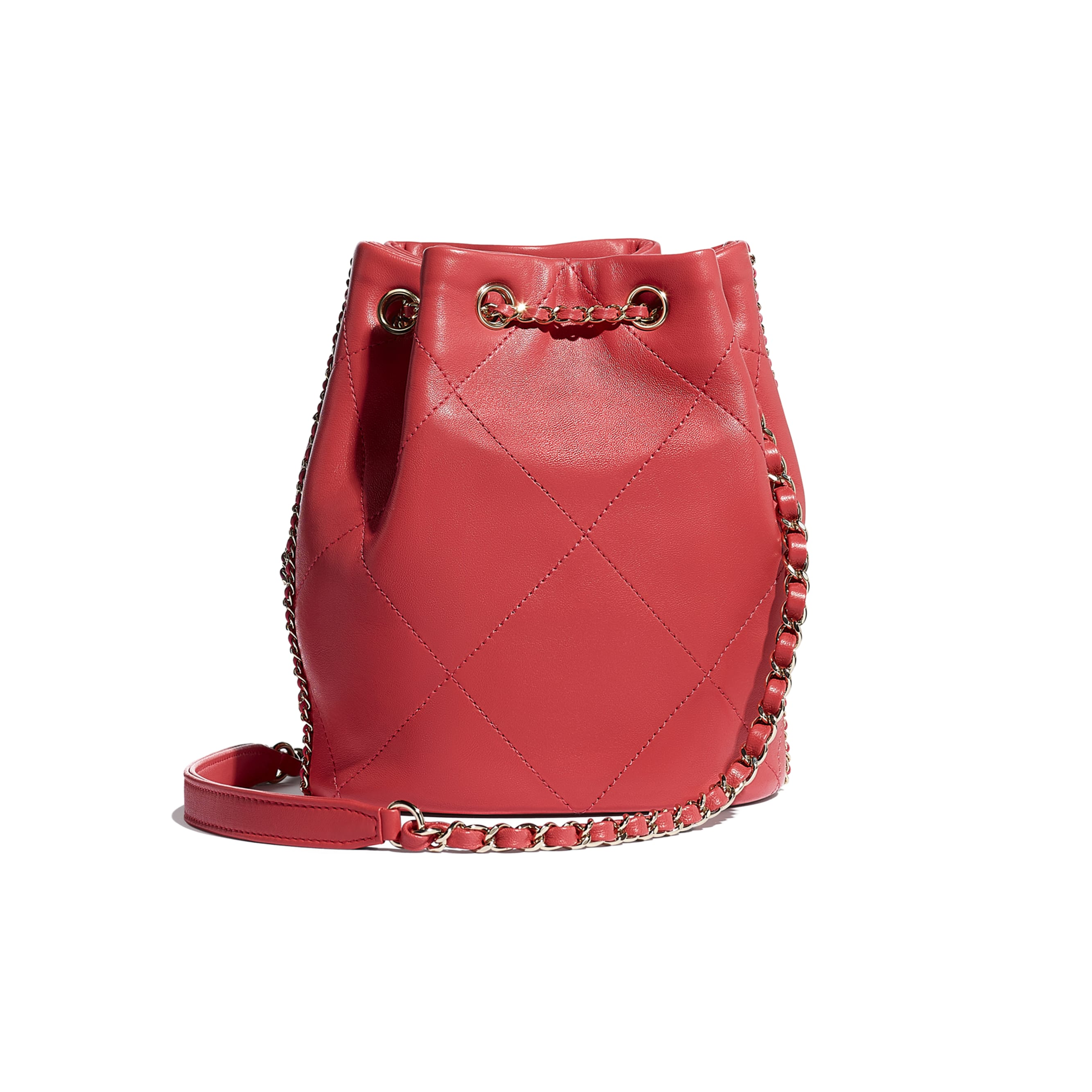 Drawstring Bag - Red & Multicolor - Lambskin & Gold Metal  - CHANEL - Alternative view - see standard sized version