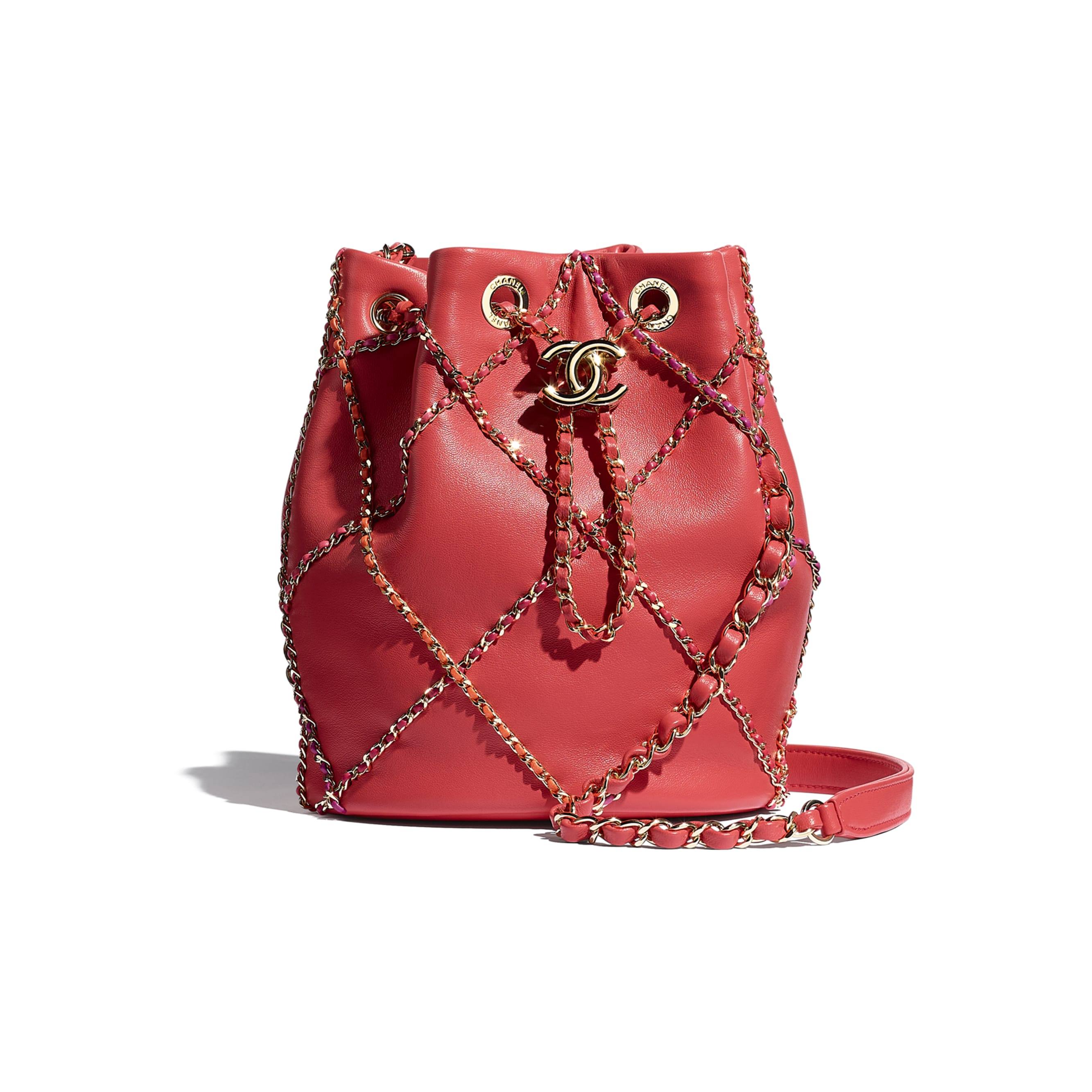 Drawstring Bag - Red & Multicolor - Lambskin & Gold Metal  - CHANEL - Default view - see standard sized version