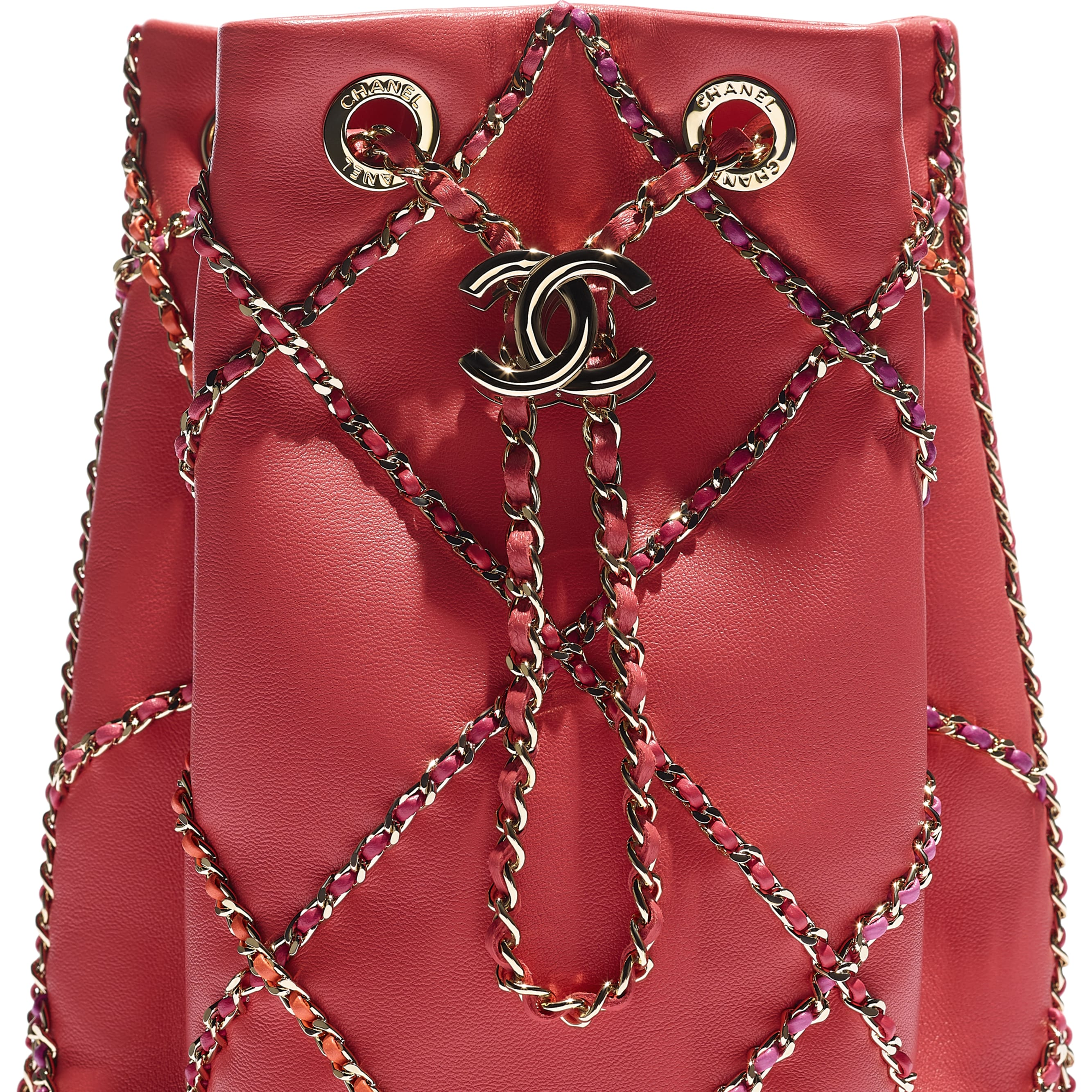 Drawstring Bag - Red & Multicolor - Lambskin & Gold Metal  - CHANEL - Extra view - see standard sized version