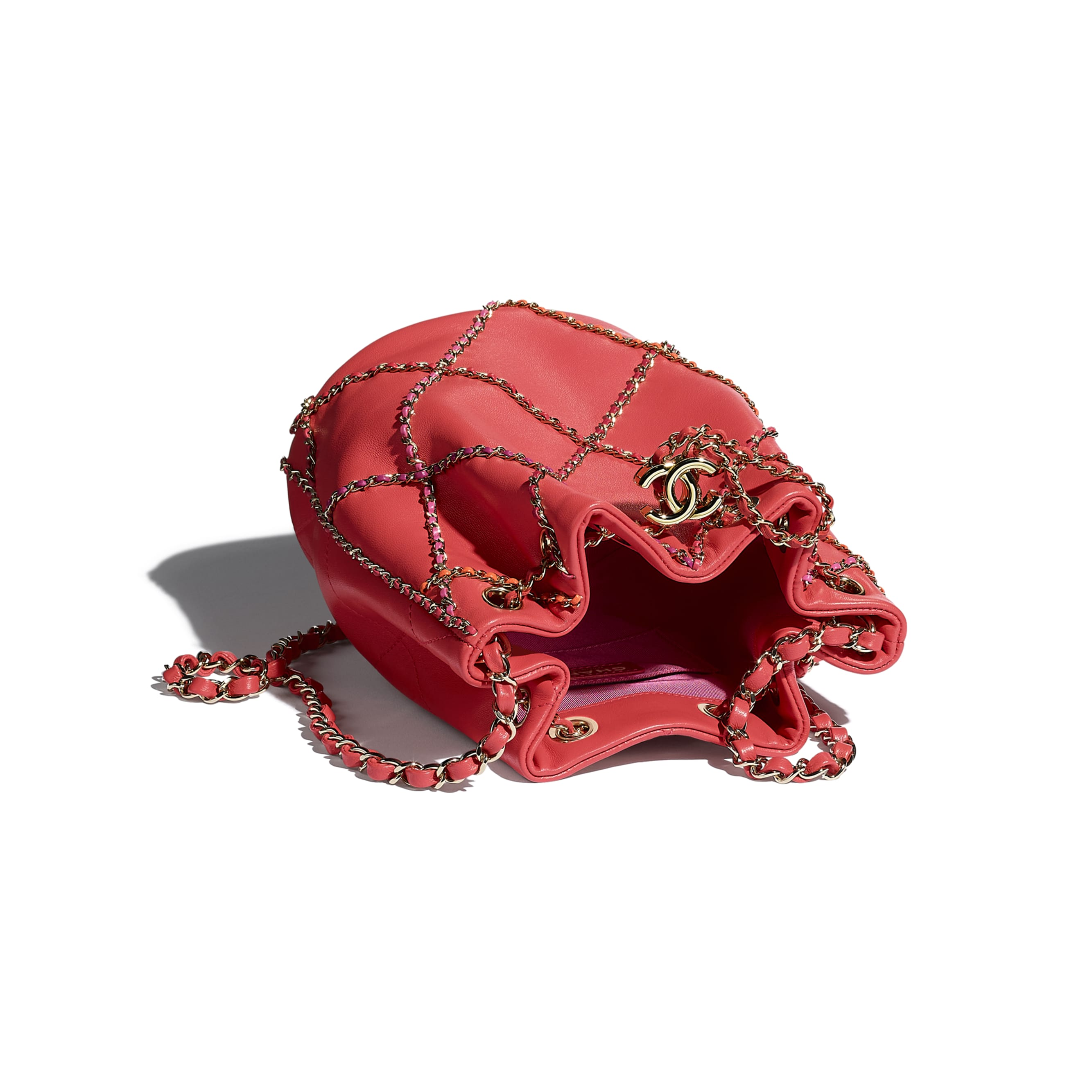 Drawstring Bag - Red & Multicolor - Lambskin & Gold Metal  - CHANEL - Other view - see standard sized version