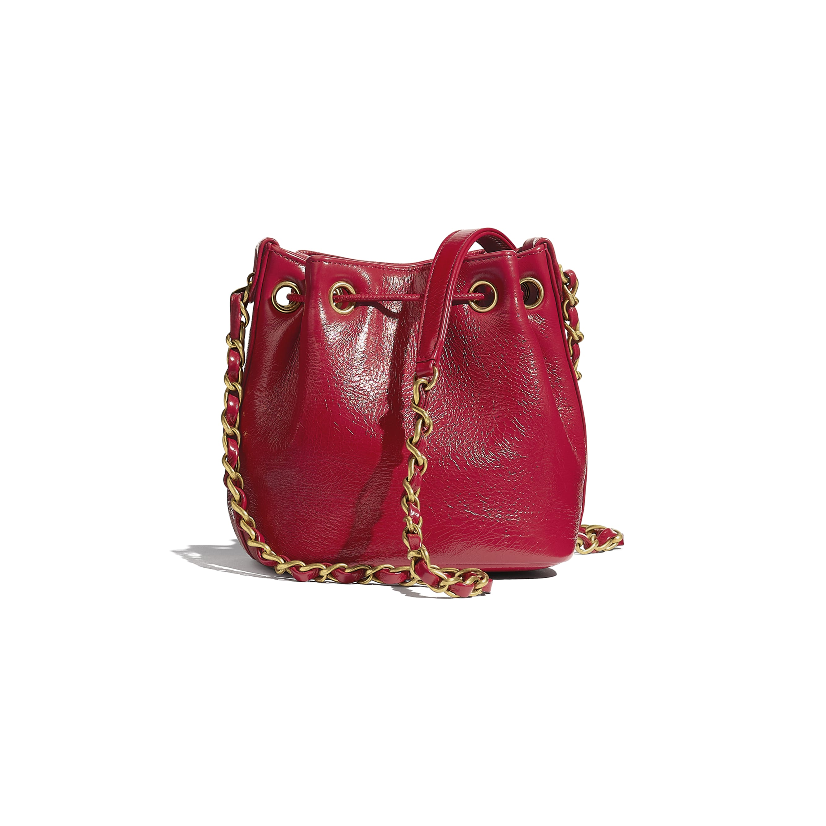 Drawstring Bag - Red - Shiny Aged Calfskin & Gold-Tone Metal - CHANEL - Alternative view - see standard sized version