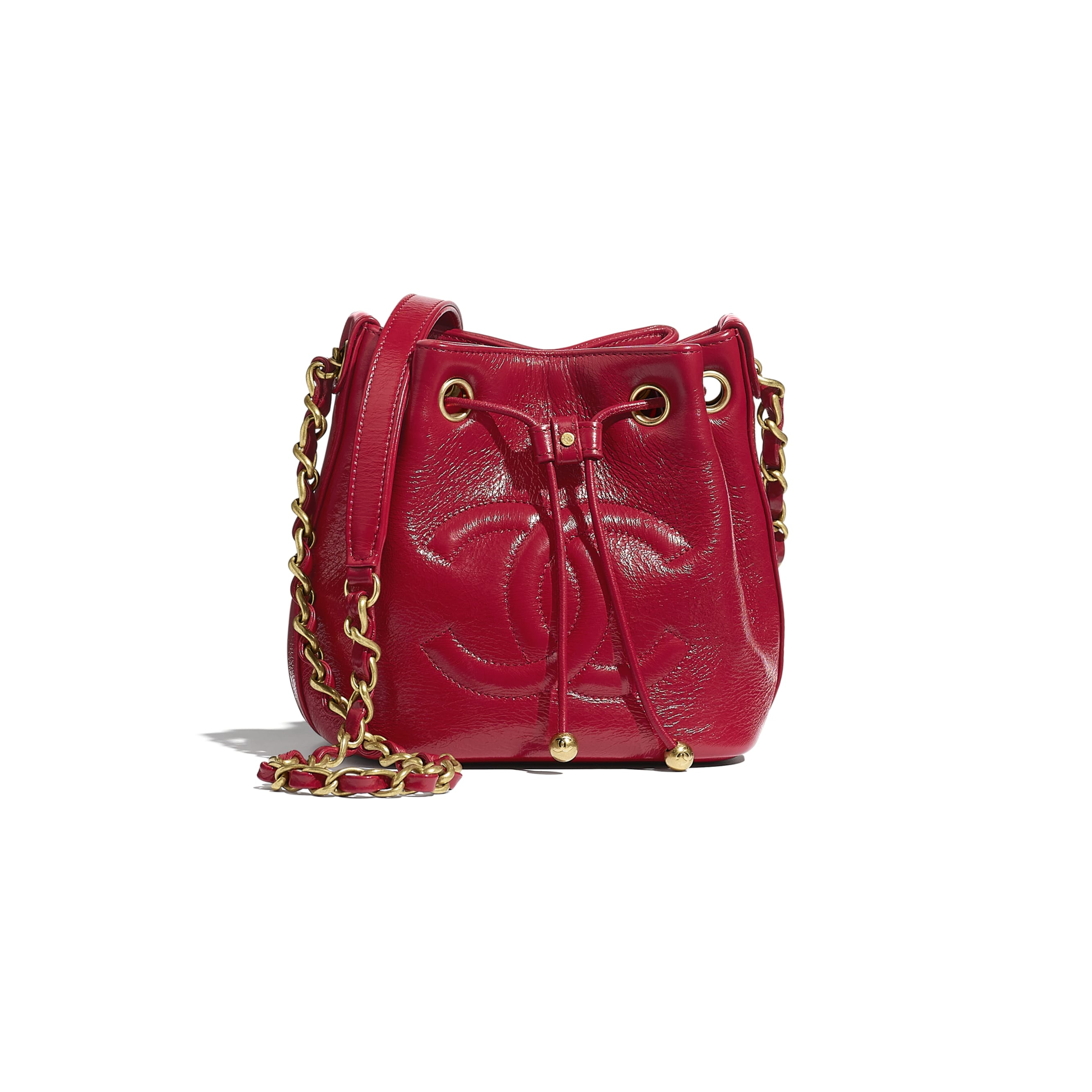 Drawstring Bag - Red - Shiny Aged Calfskin & Gold-Tone Metal - CHANEL - Default view - see standard sized version