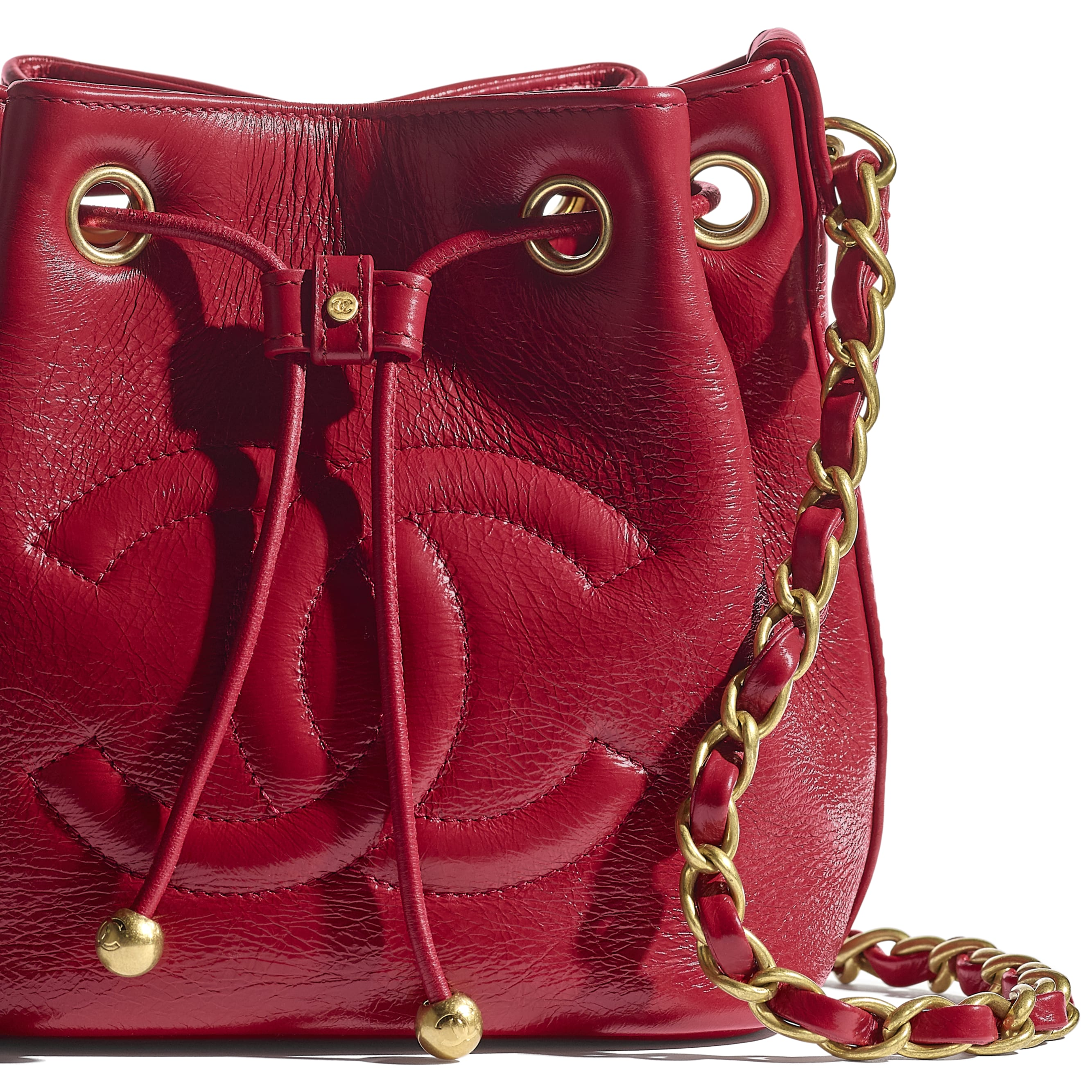 Drawstring Bag - Red - Shiny Aged Calfskin & Gold-Tone Metal - CHANEL - Extra view - see standard sized version