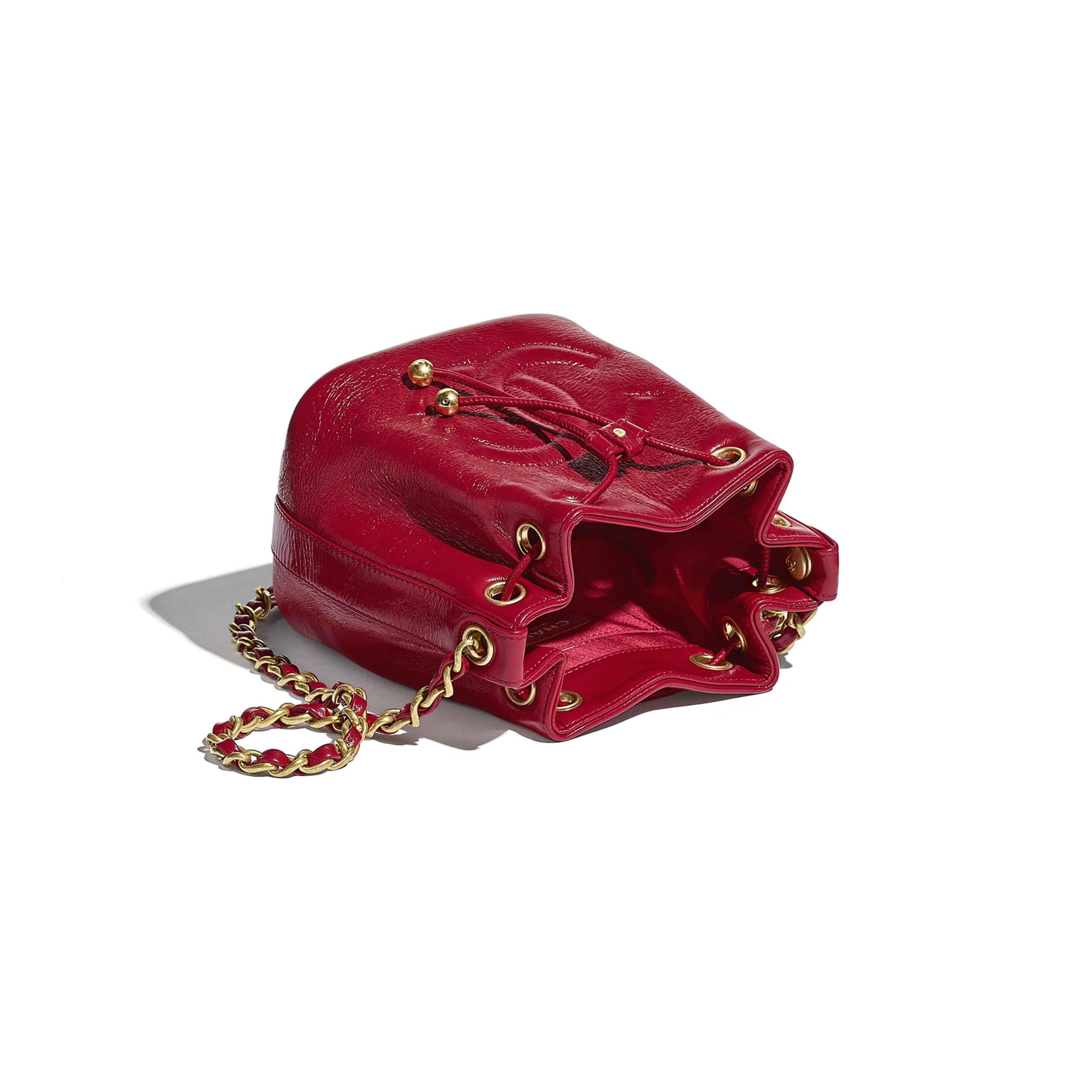 Drawstring Bag - Red - Shiny Aged Calfskin & Gold-Tone Metal - CHANEL - Other view - see standard sized version
