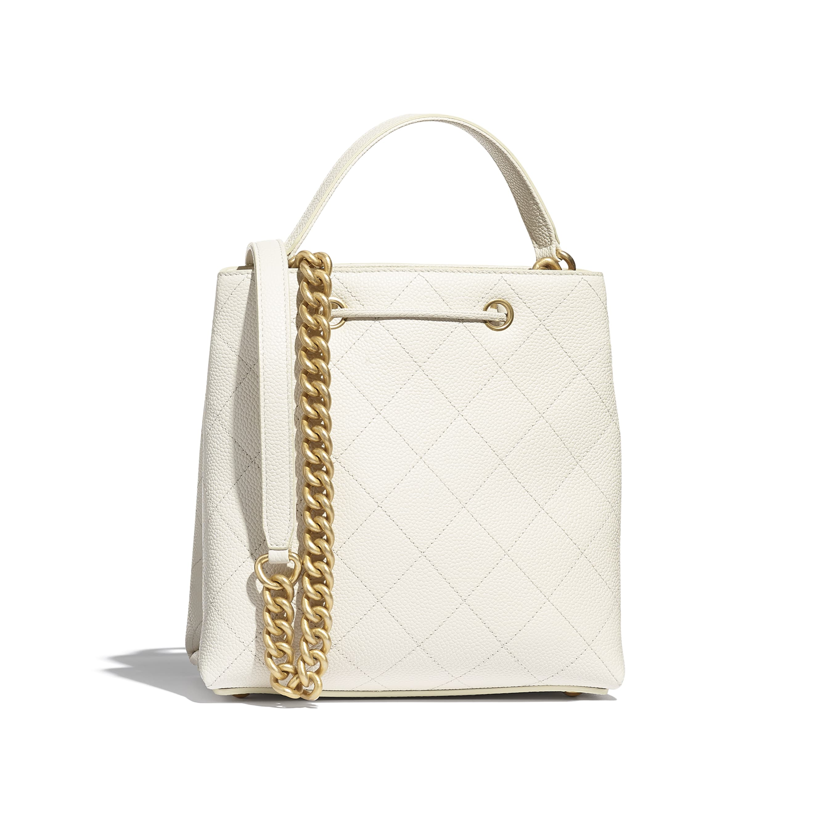 Drawstring Bag - White - Grained Calfskin & Gold-Tone Metal - CHANEL - Alternative view - see standard sized version